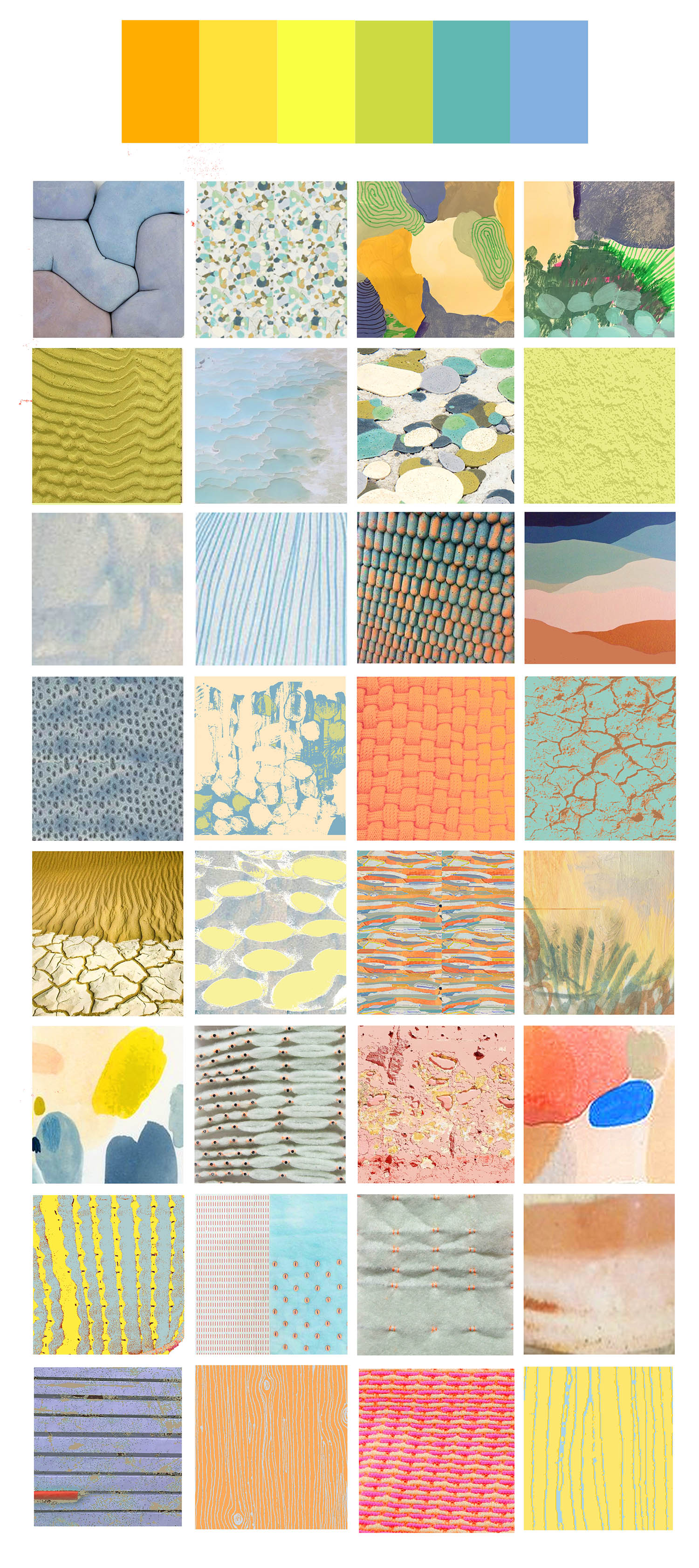 Inspiration board of uplifting and earthy tones and mixing of natural and geometric patterns
