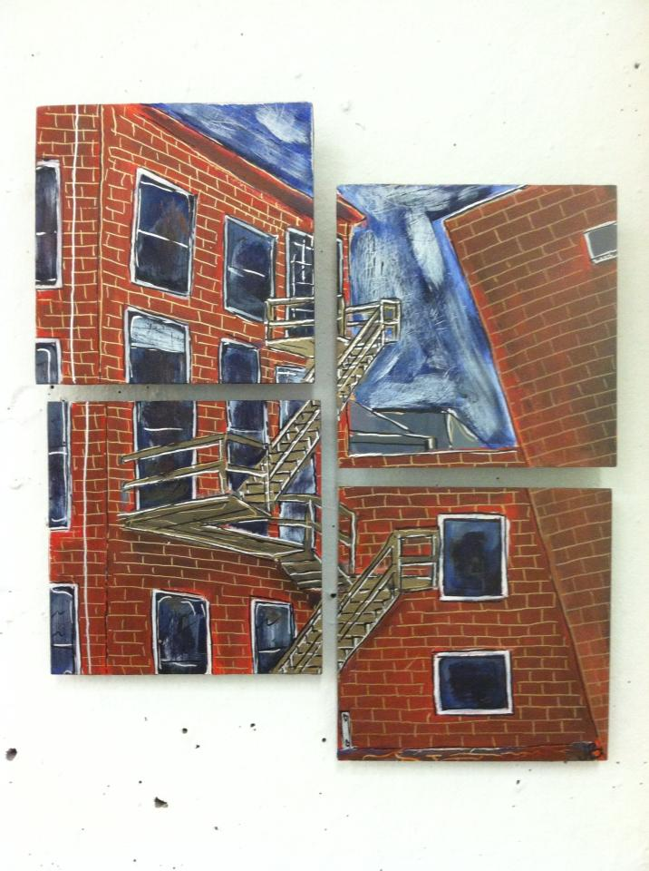 """""""Parson's Street"""" 2014  Acrylic paint and Oil based pen on wood"""