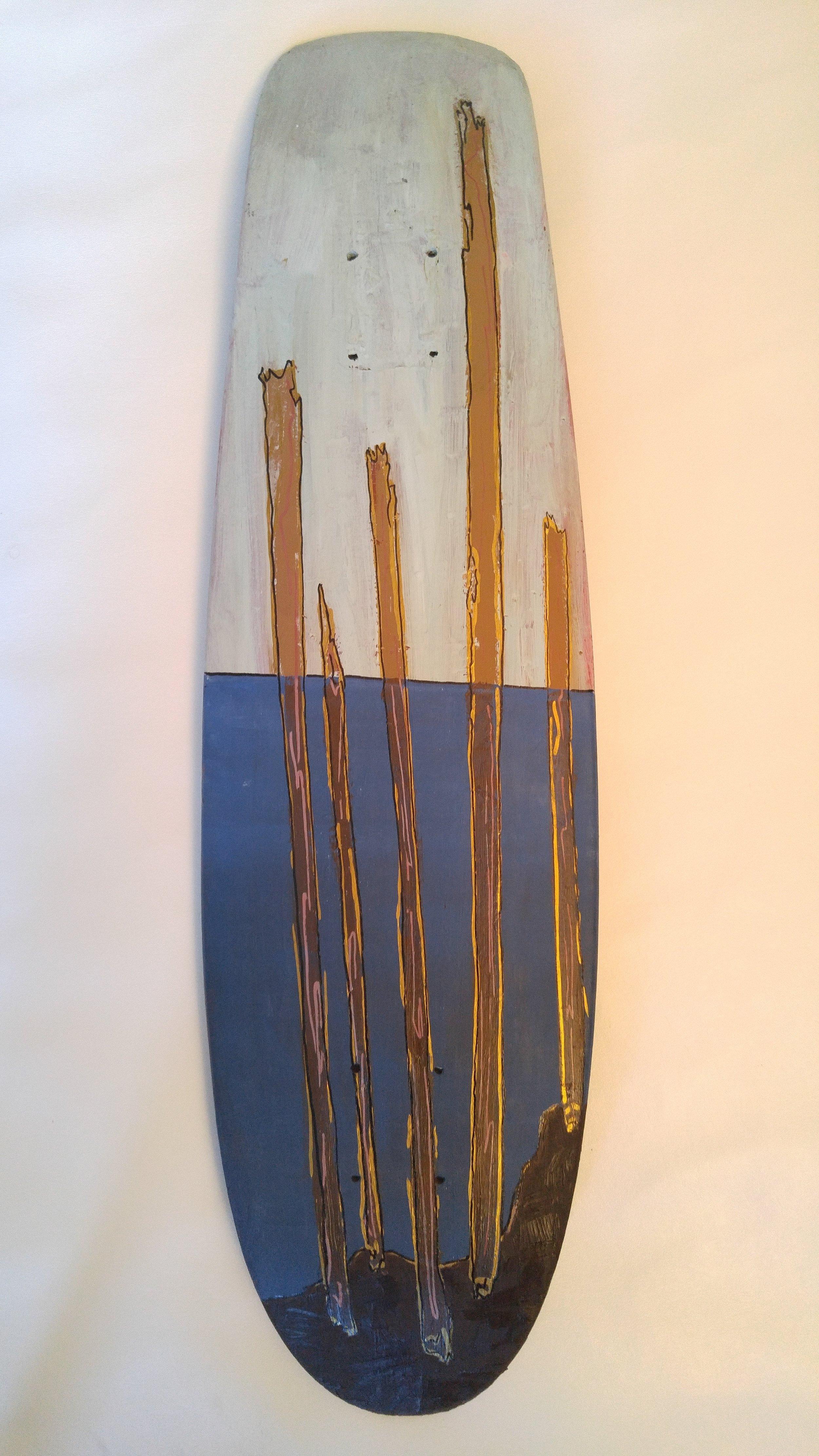 """""""Pilings"""" 2016  Oil paint and Oil based pen on skateboard"""