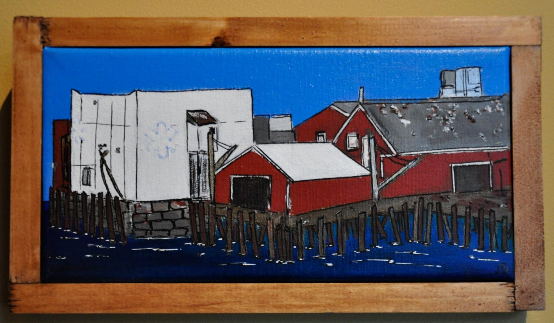 """""""Cape Pond Ice"""" 2014  4""""x 8""""  Acrylic paint and Oil based pen on canvas"""
