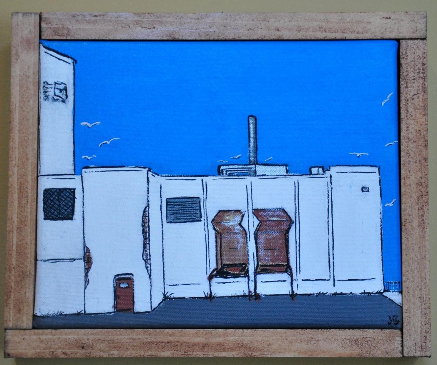 """Birdseye Building"" 2014  6""x 8""  Acrylic paint and Oil based pen on canvas"