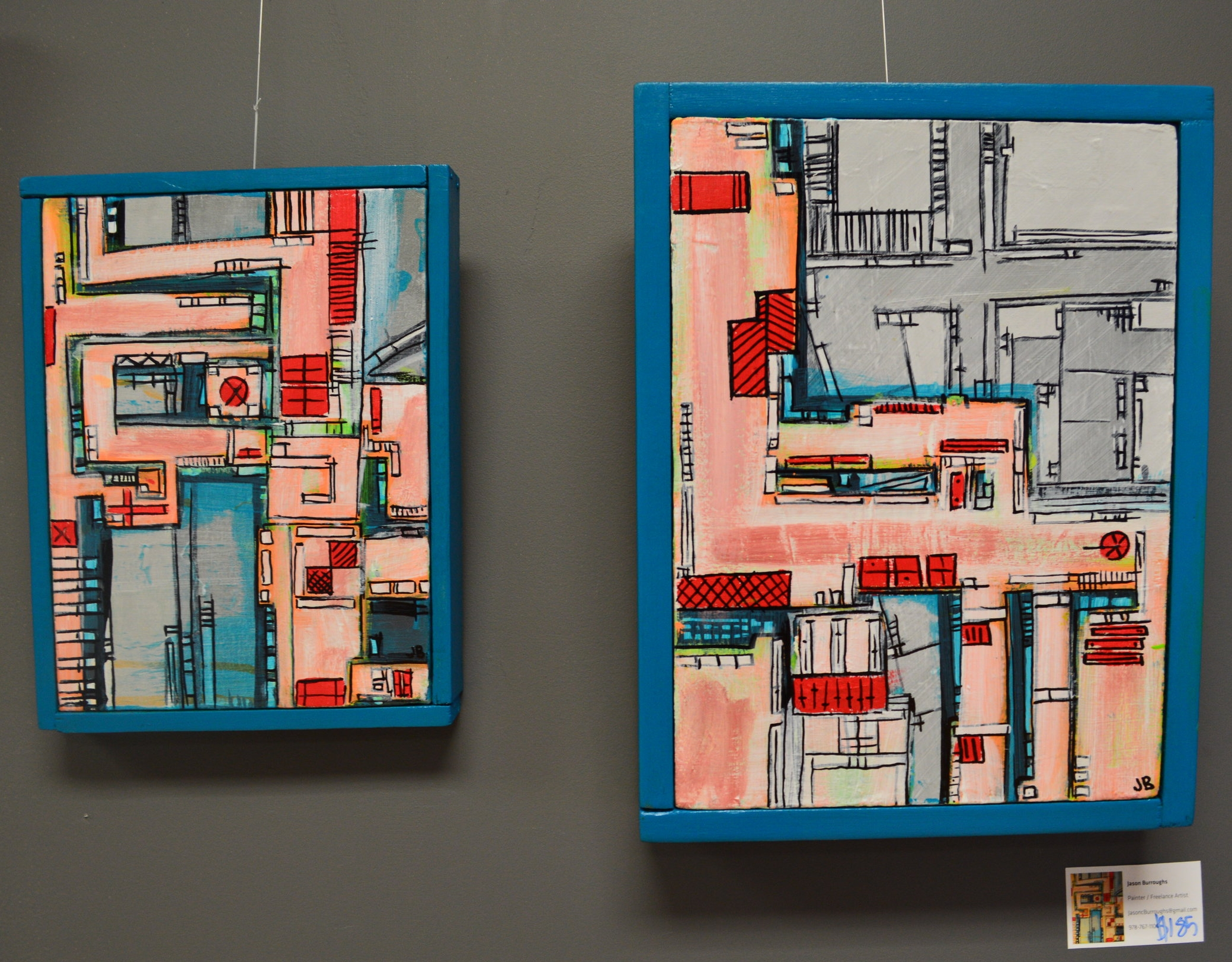 """""""Alien Gas Station"""" 2014  8""""x 10"""", 9""""x 12""""  Acrylic paint, ink and Oil based pen on canvas, wood."""