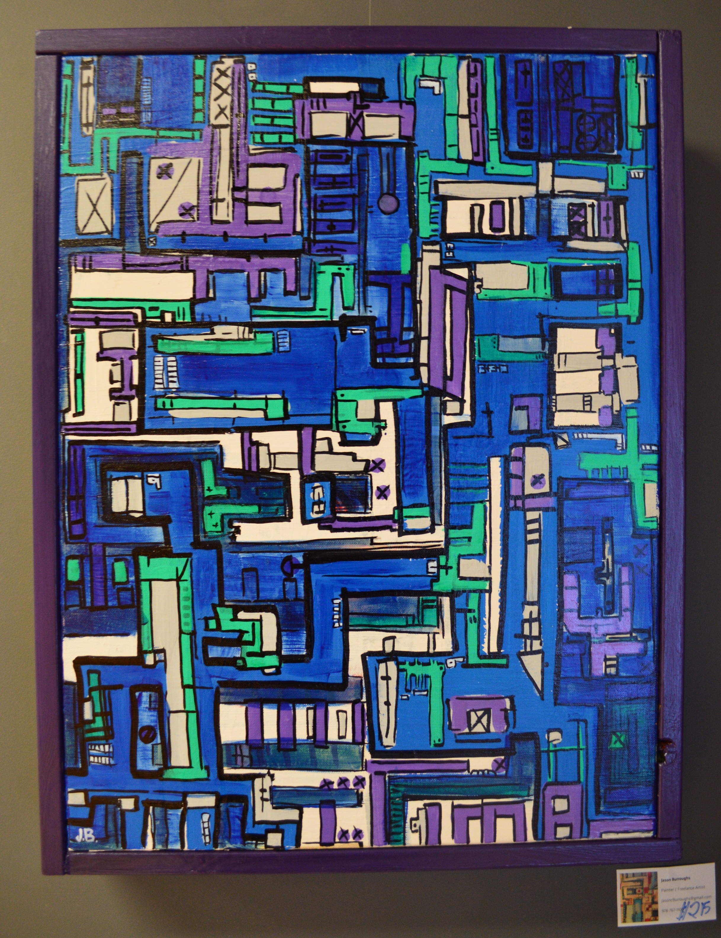 """""""Blue city"""" 2014  Acrylic paint, ink, and oil based pen on canvas, wood"""