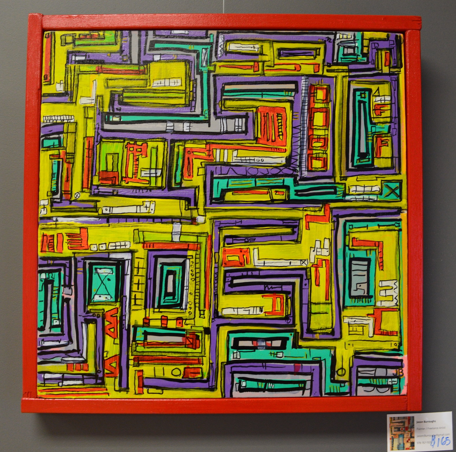 """""""Yellow Bar"""" 2014  Acrylic paint, ink and oil based pen on canvas, wood"""