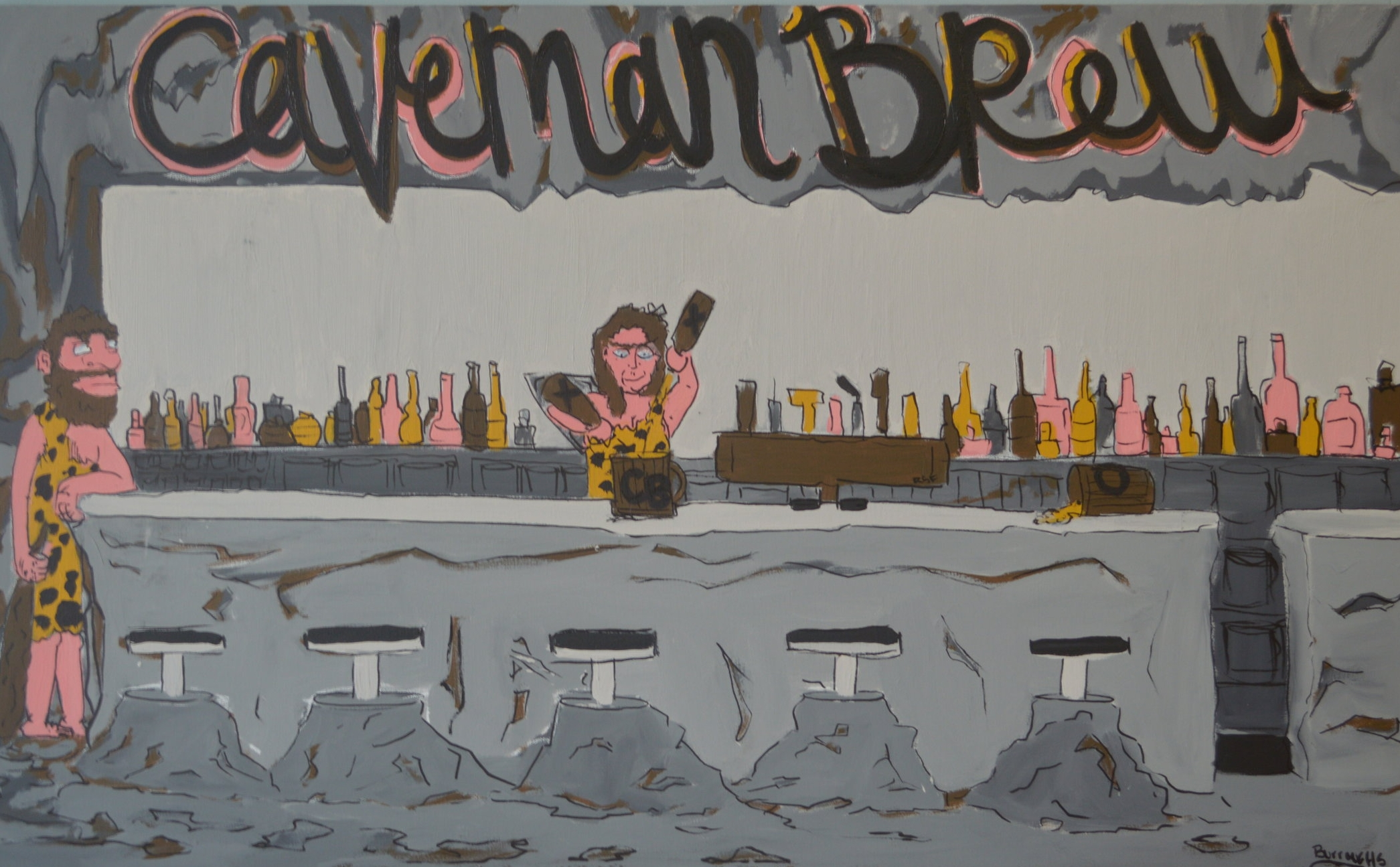 """""""Caveman Brew"""" 2013  12"""" x 24""""  Acrylic paint and oil based pen on canvas"""