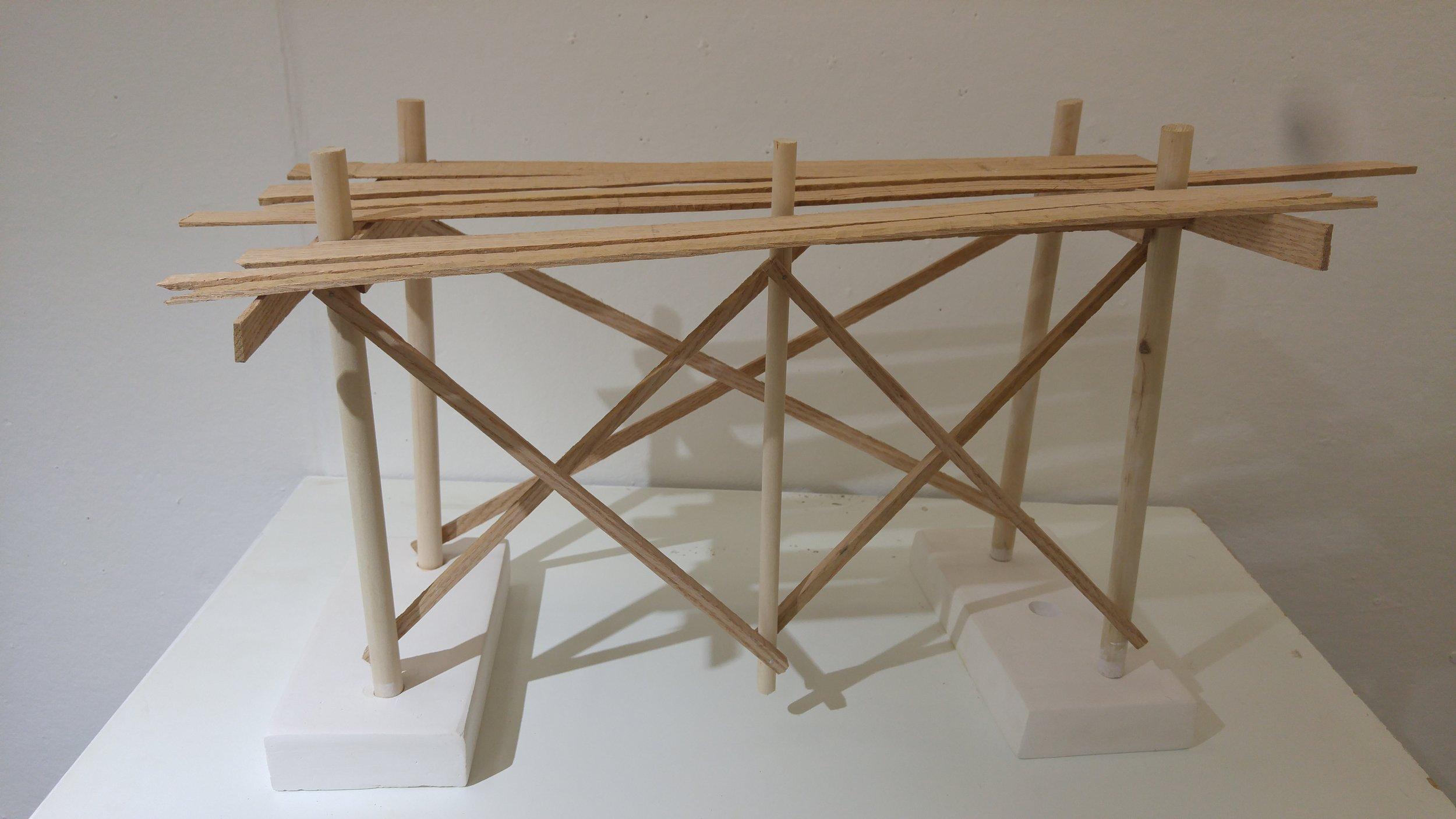 """Pier Studies"" 2017  Oak, pine, and hydrocal"