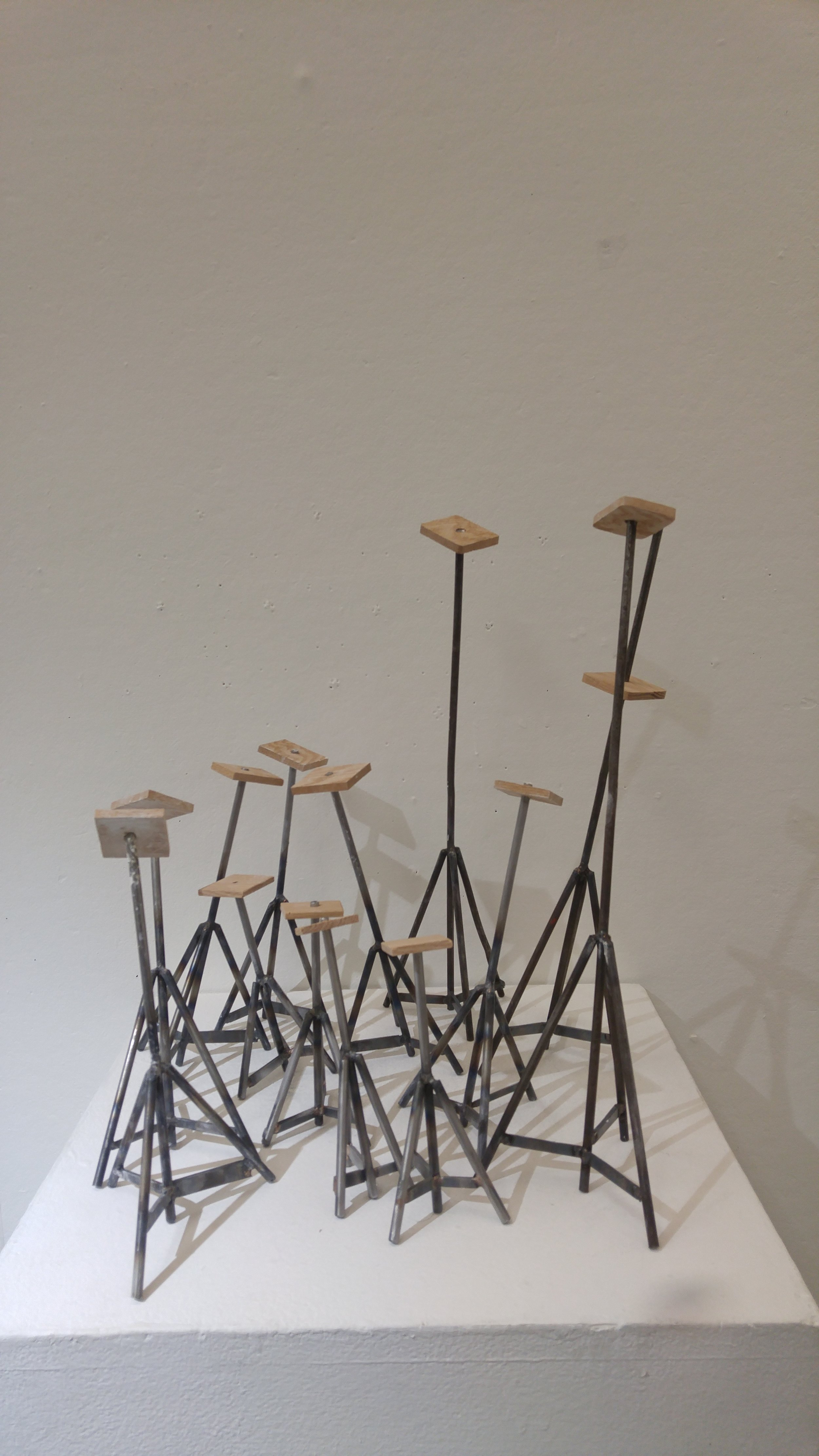 """""""Boat Stands"""" 2017  Oak and steel"""