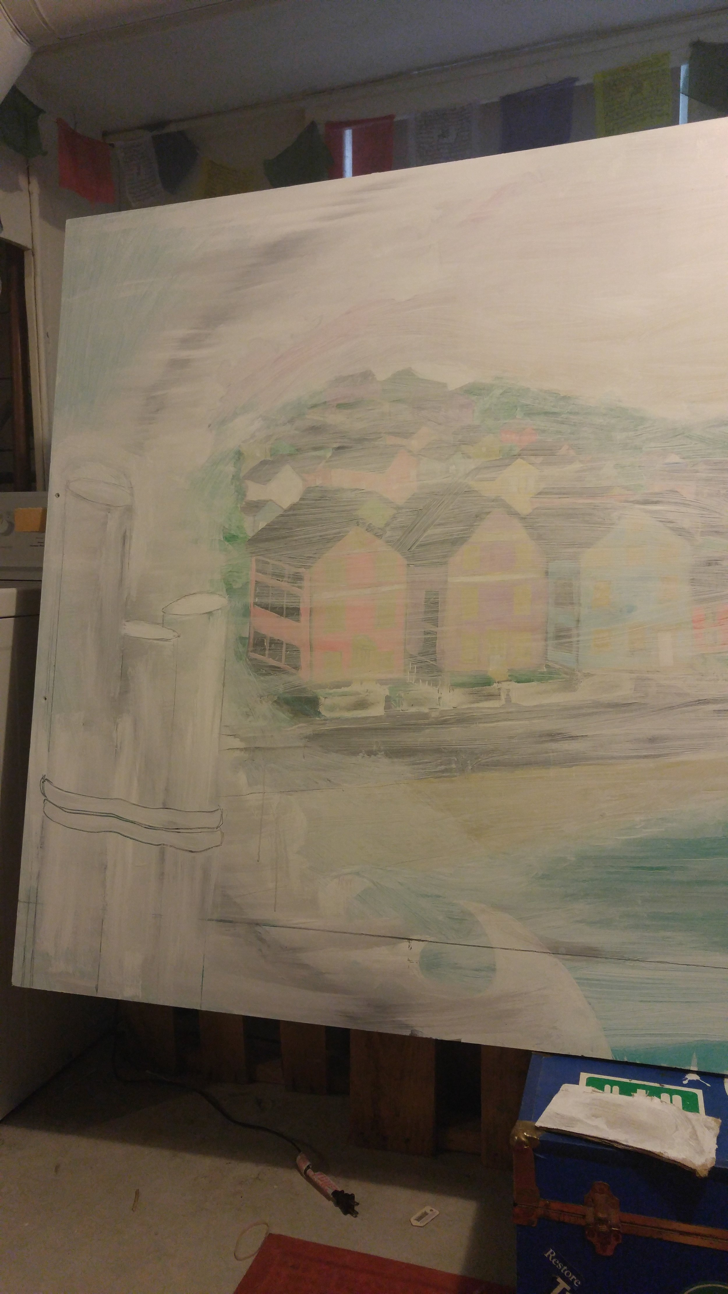 After sanding and cleaning I applied some primer to the whole mural and began making adjustments using graphite