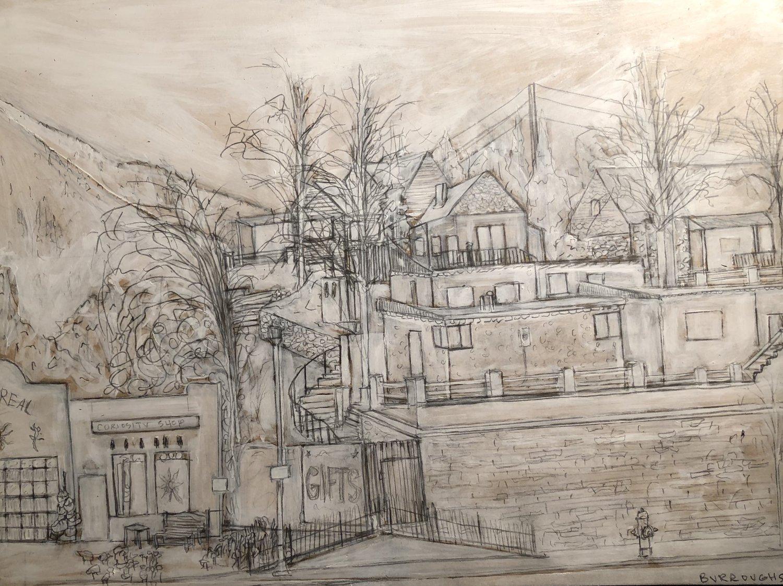 """Banana Manor"" 2017  12""x 16""  Acrylic Paint and graphite on mdf panel"