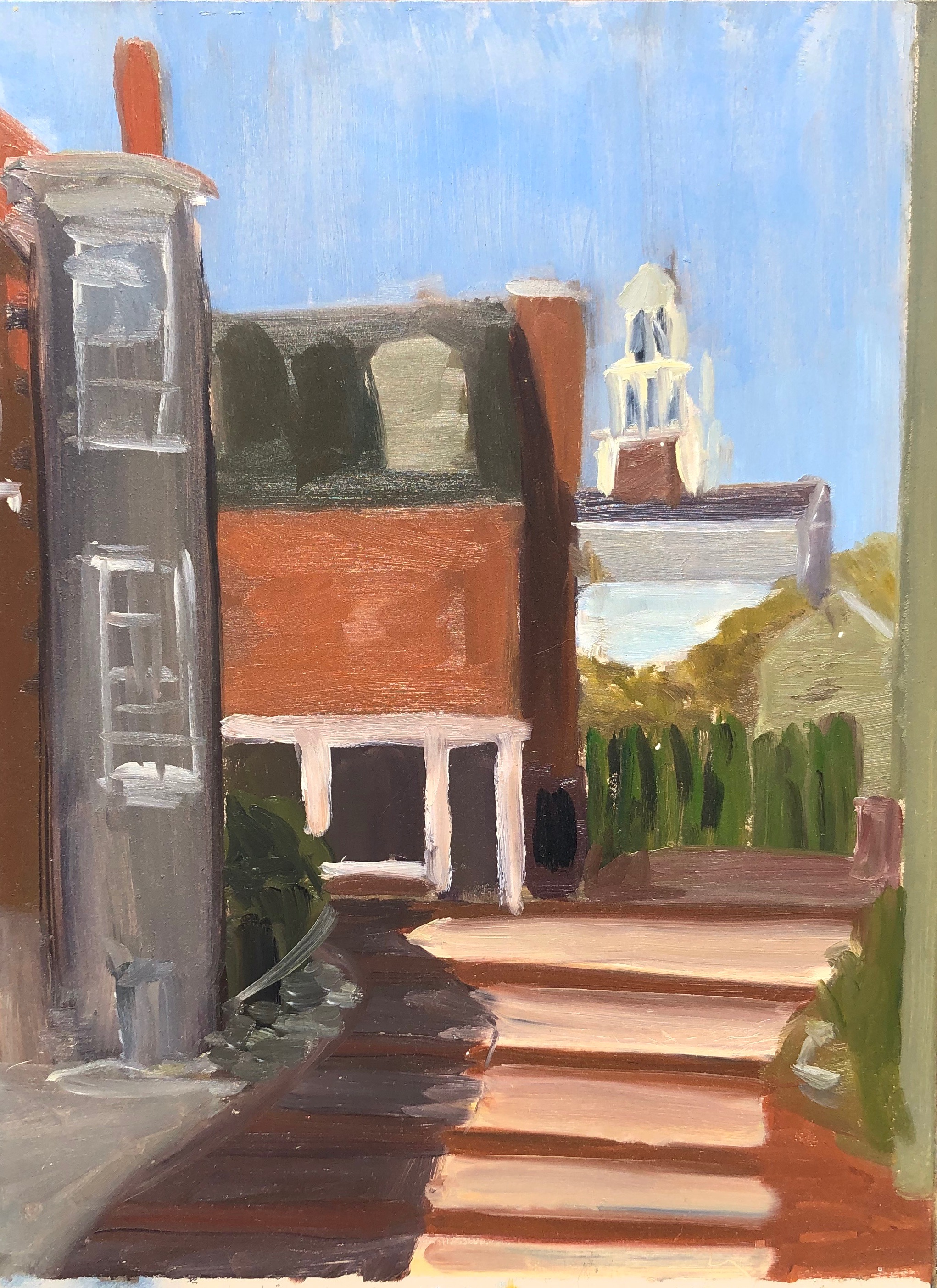 """Universalist Church from Dogbar lot"" 2018  9"" x 12""  Oil on board"
