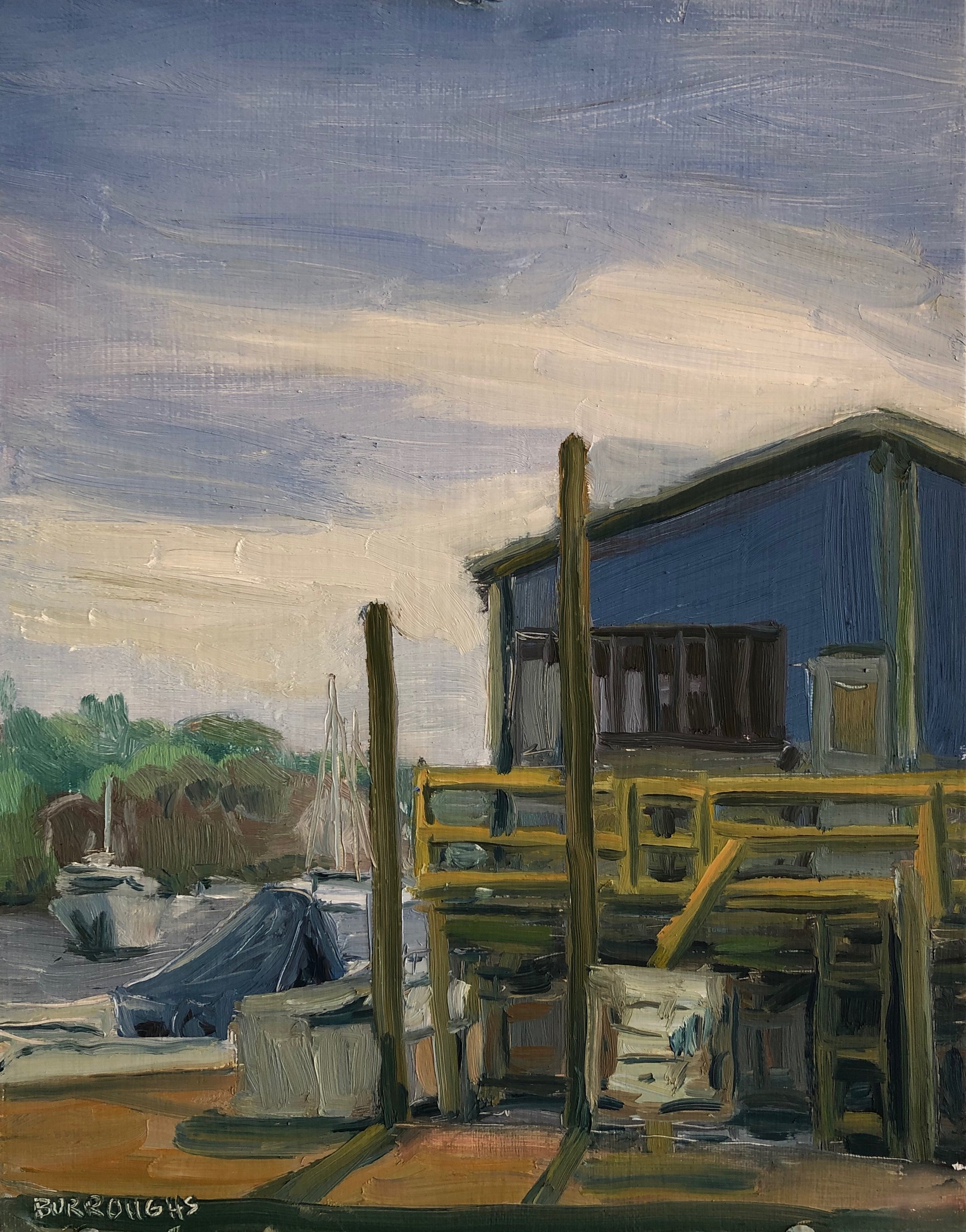 """Madfish Wharf"" 2019  11"" x 14""  Oil on canvas panel"