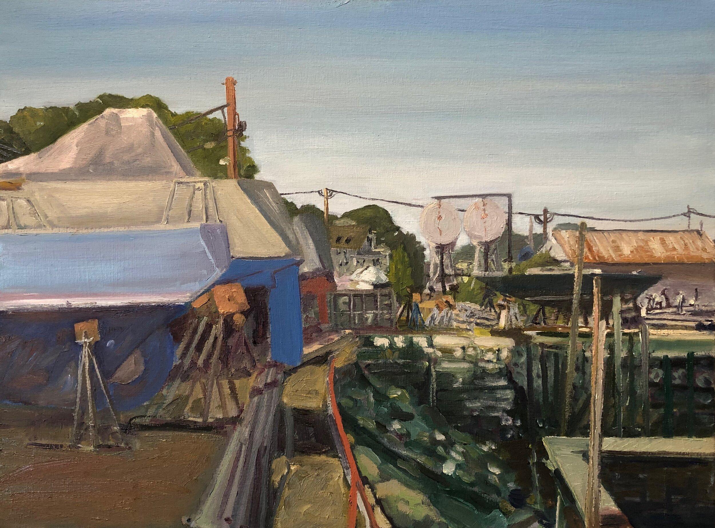 """""""Dry Docks, Beacon Marine"""" 2019  18"""" x 24""""  Oil on canvas"""