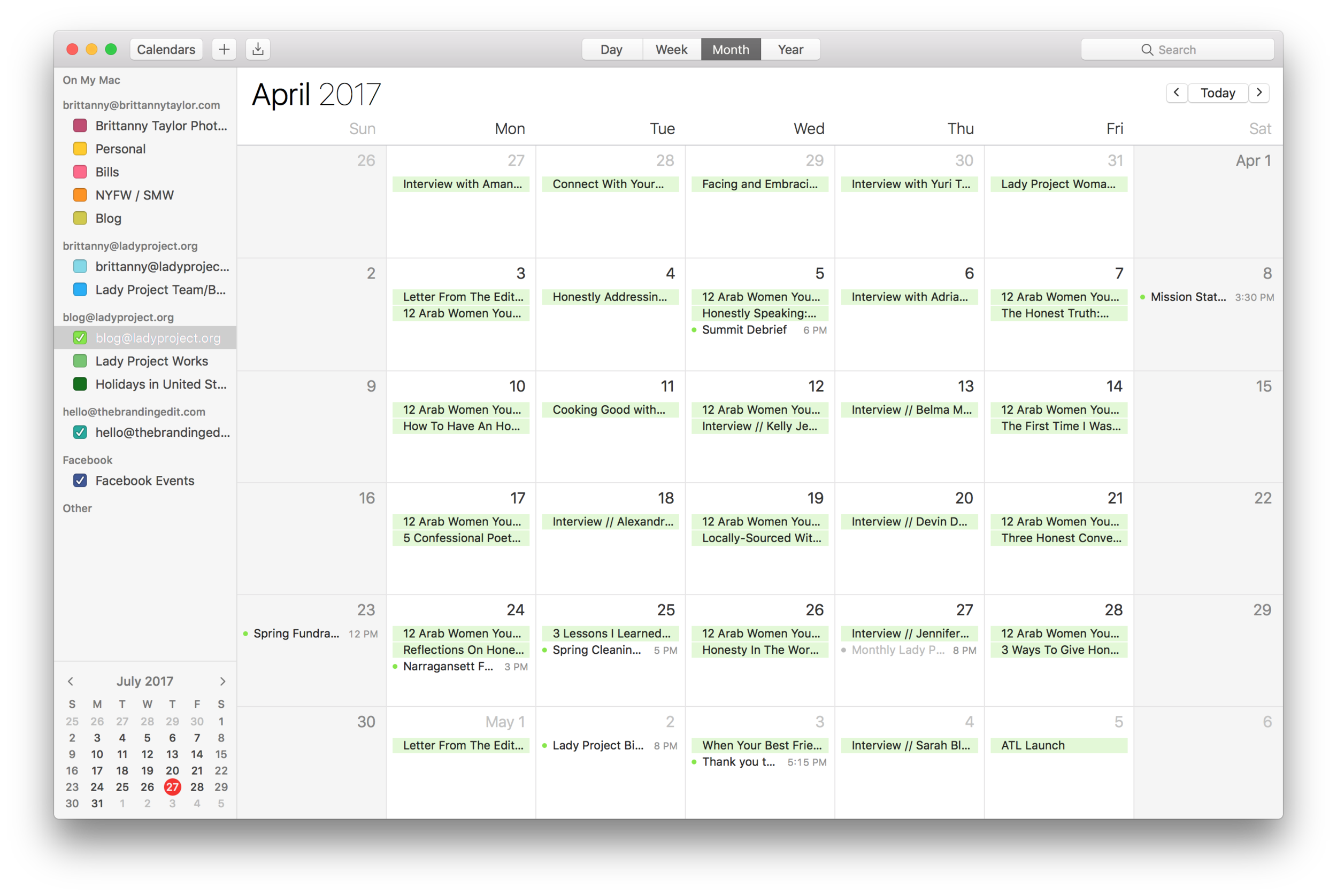 An example of how I schedule blog posts for The Lady Project Blog.