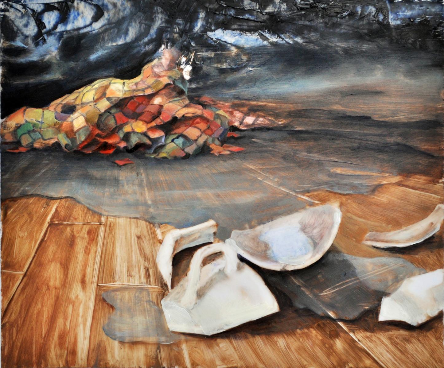 Spilt, 2011, Oil on mylar, 10x12inches