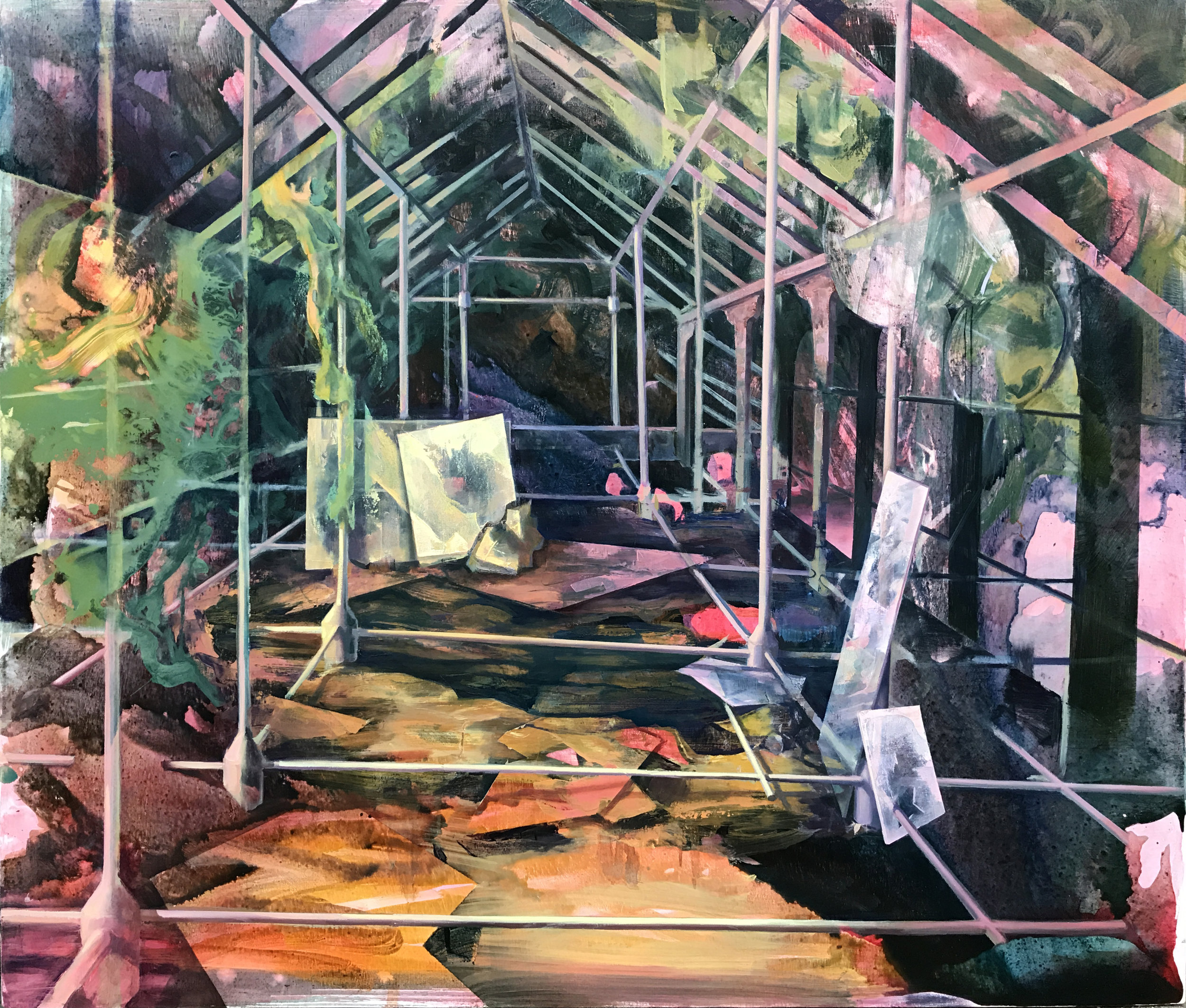 Greenhouse , 2017, Ink acrylic and oil on canvas, 44 x 56 inches