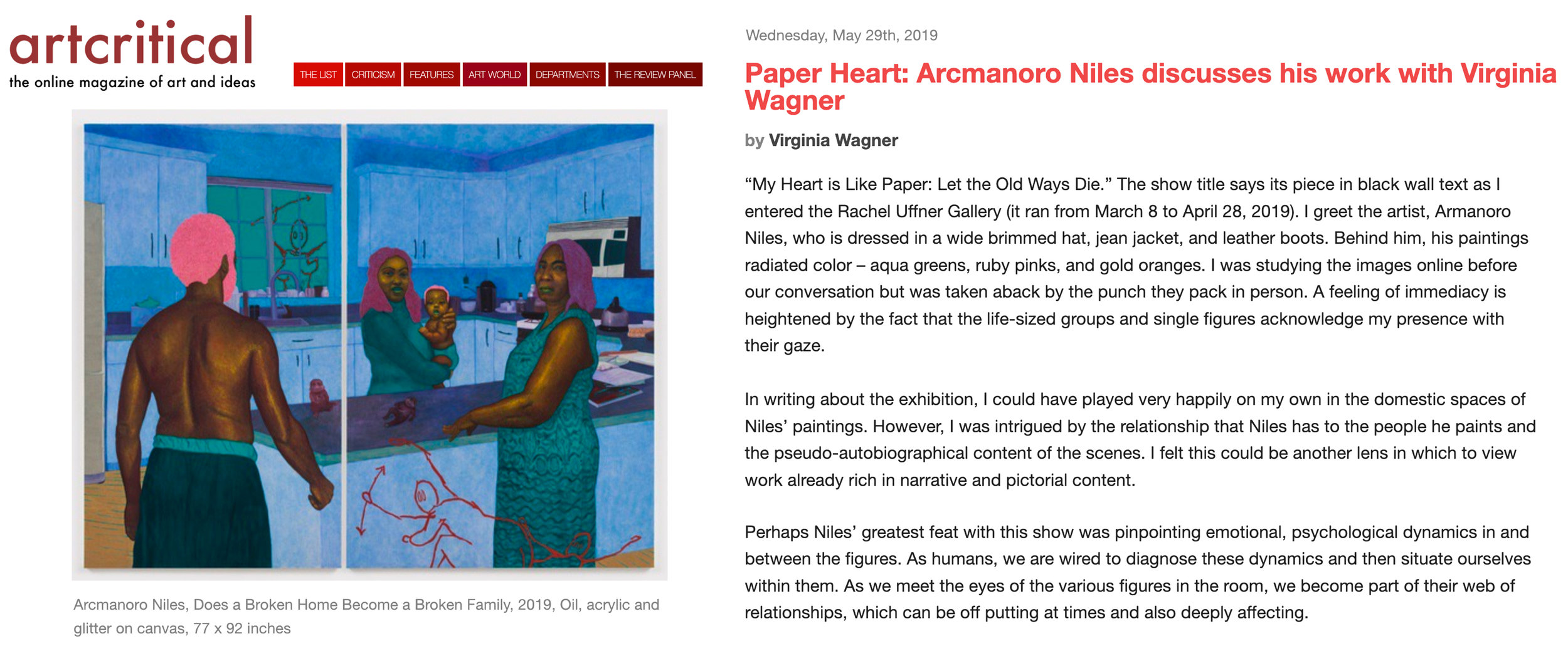 I interviewed Armanoro Niles for ArtCritical about his latest exhibition at the Rachel Uffner Gallery! Full text  HERE .