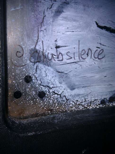 An insider leaves a message at Club Silence Austin.