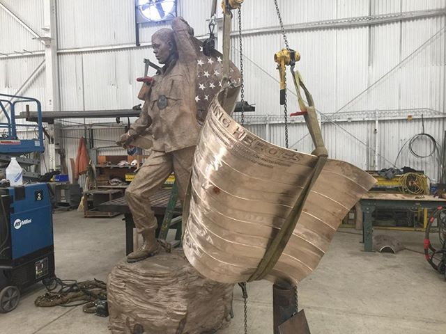 Enduring Heroes Monument in the process of assembly and welding at @artworks_foundry.  #enduringheroes #pasadena @enduringheroes #monument @californiaartclub #christopherslatoff #weremember #armedforces #July4
