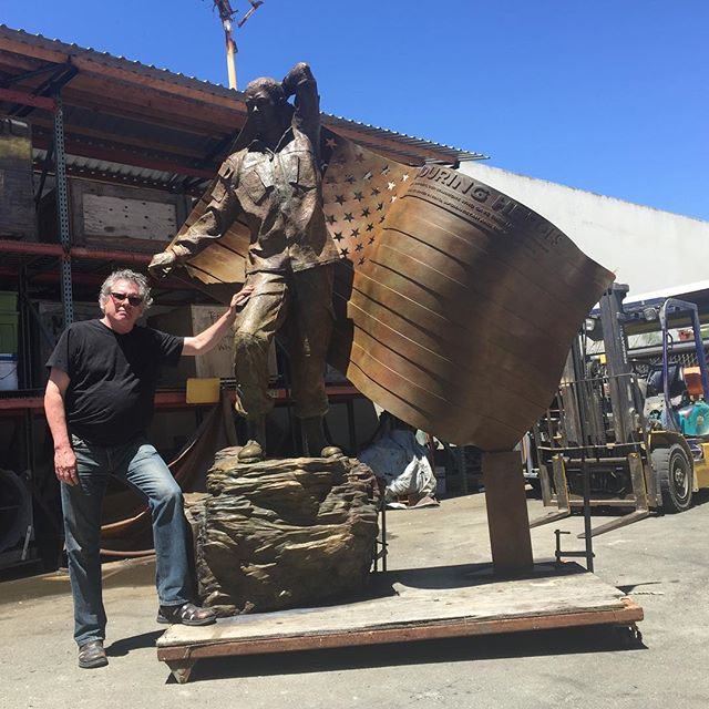 A photo of me with the completed Enduring Heroes Monument at @artworks_foundry .  #enduringheroes #pasadena @enduringheroes #monument @californiaartclub #christopherslatoff #weremember #armedforces #July4