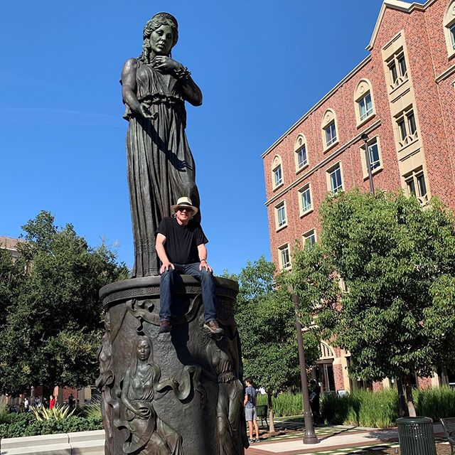 """Just in time for the new semester, Karl and I fired up the torch and reworked the patina on """"Hecuba"""" at The USC Village."""