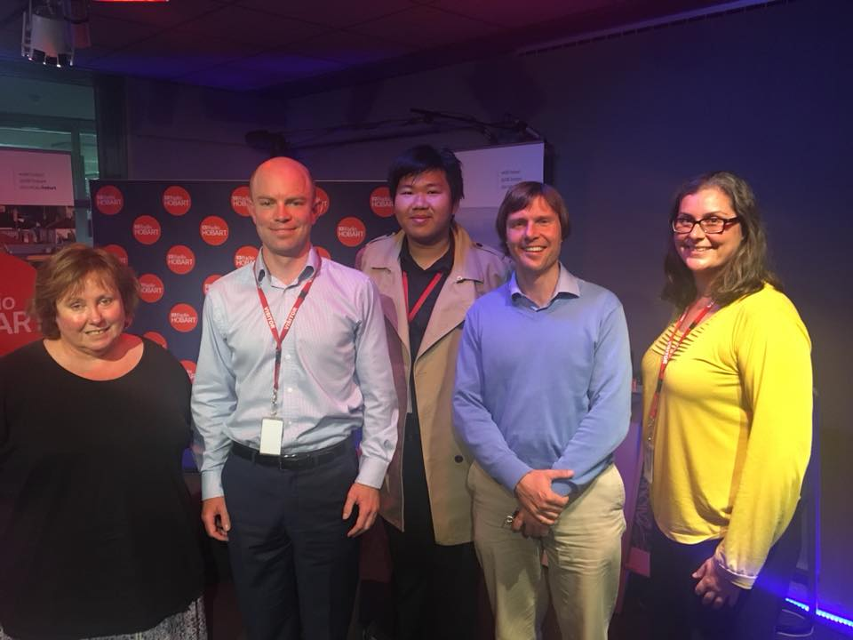 - (left to right) Louise Saunders (ABC Presenter), Richard Griggs (Tas Director of Civil Liberties Australia), Bernard Goh (CLA member), Ben Bartl (Tenants Union solicitor) and Michelle Parker (Equal Opportunity Tasmania).