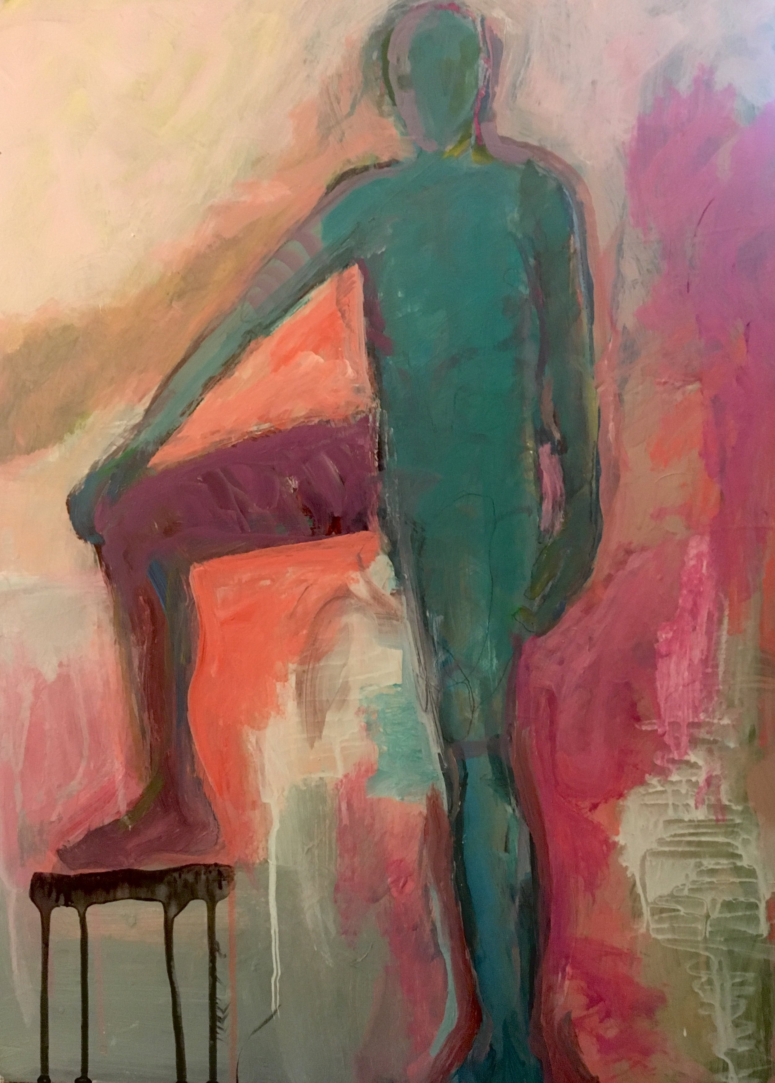 Green Male with Right Leg on Stool_ 2019, Acrylic_Mixed Media on museum board $1000