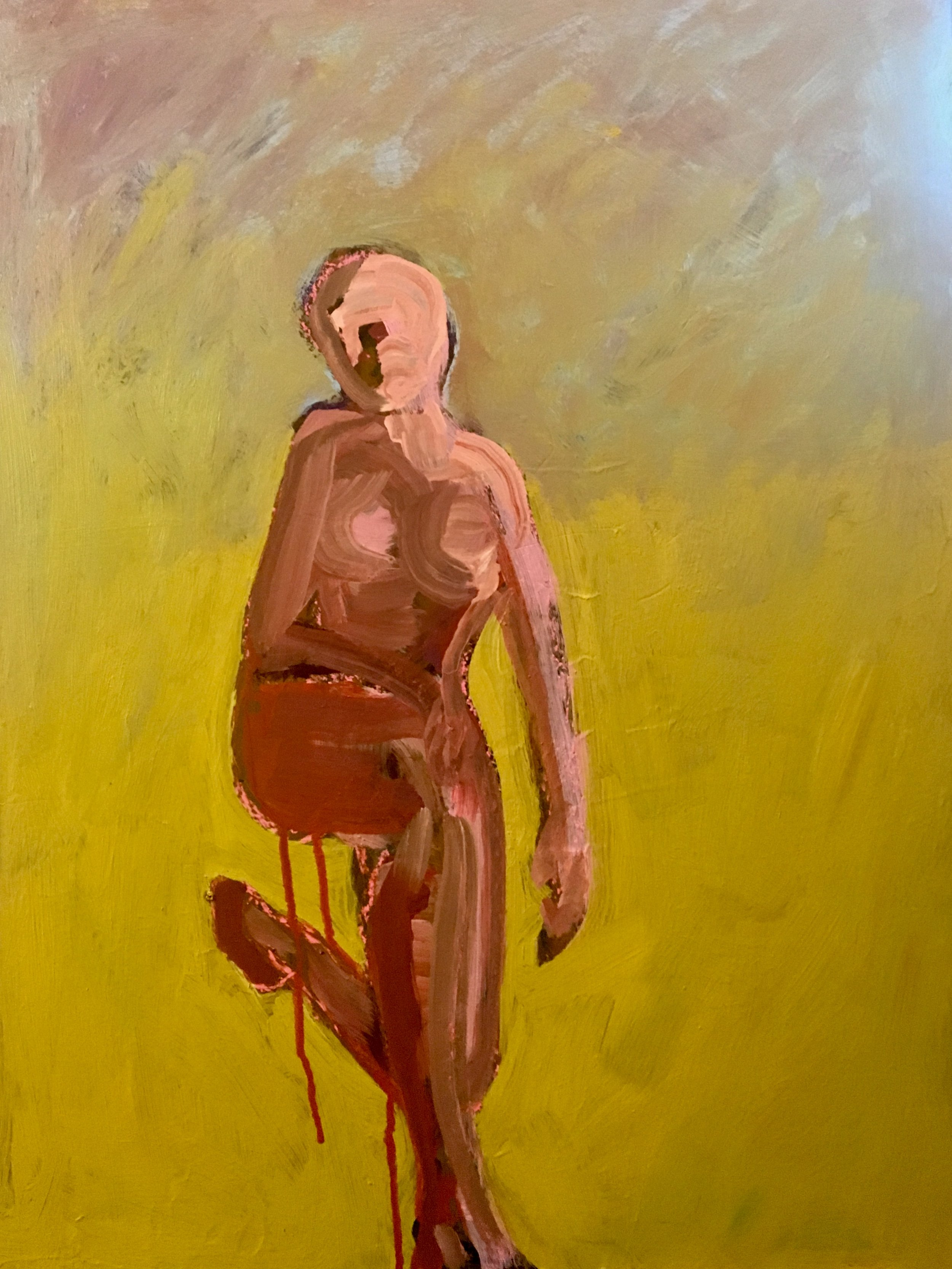 Figure on One Knee_ 2019, 24_x18_, Acrylic_mixed media on museum board. $1000