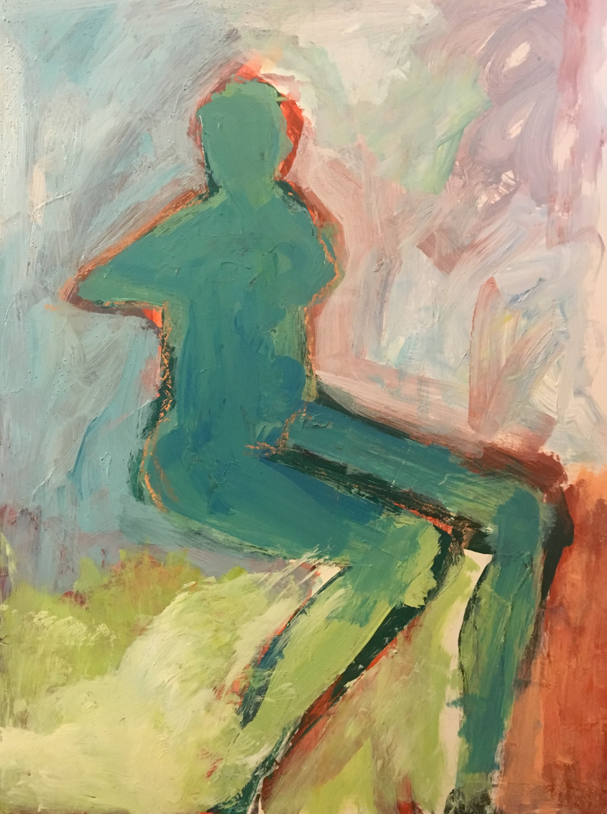Seated Green Female_ 2019, 24_x18_, Acrylic_mixed media on museum board. $1000