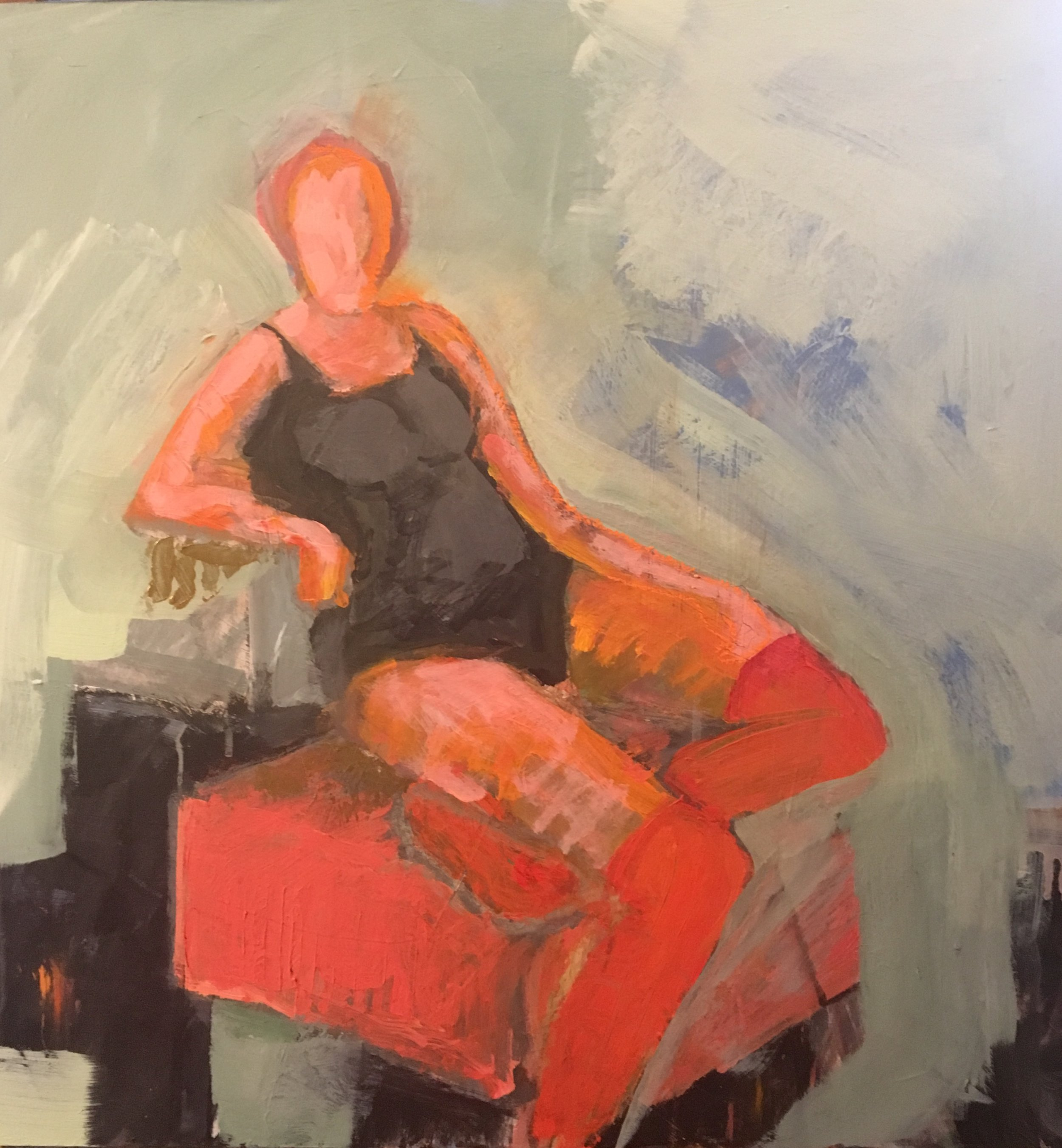 Seated Woman with Red Stockings_ 2019, 24_x24_, Acrylic_Mixed media on museum board. $1200