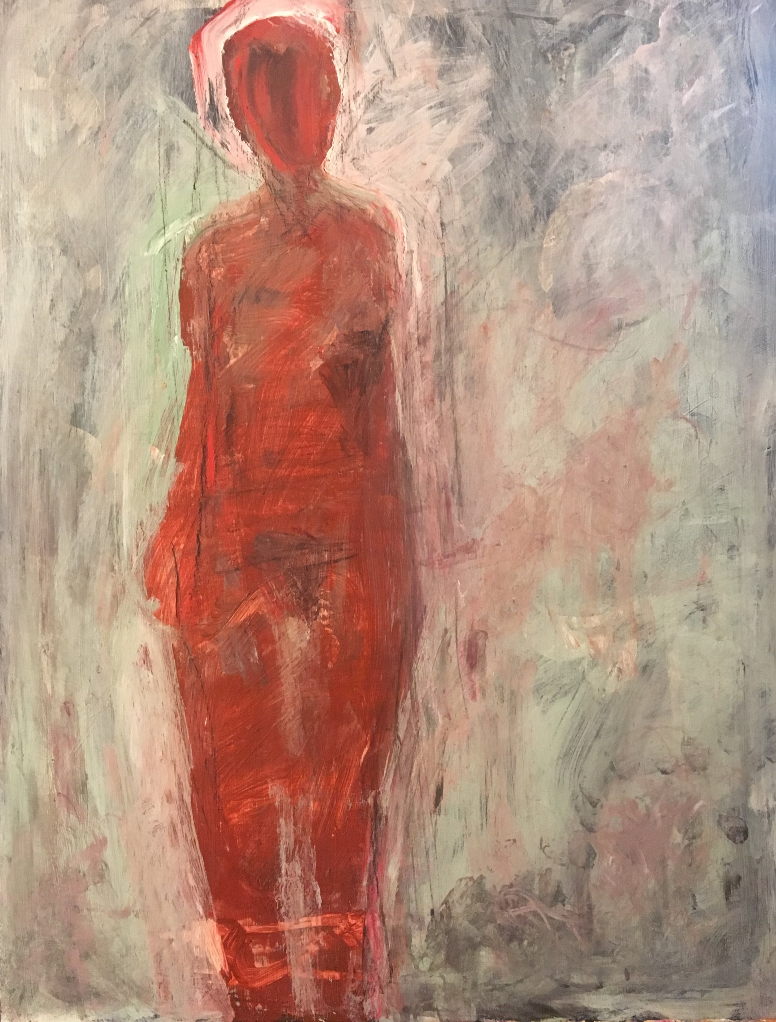 Standing Red Female_ 2019 Acrylic_Mixed Media on museum board $1000