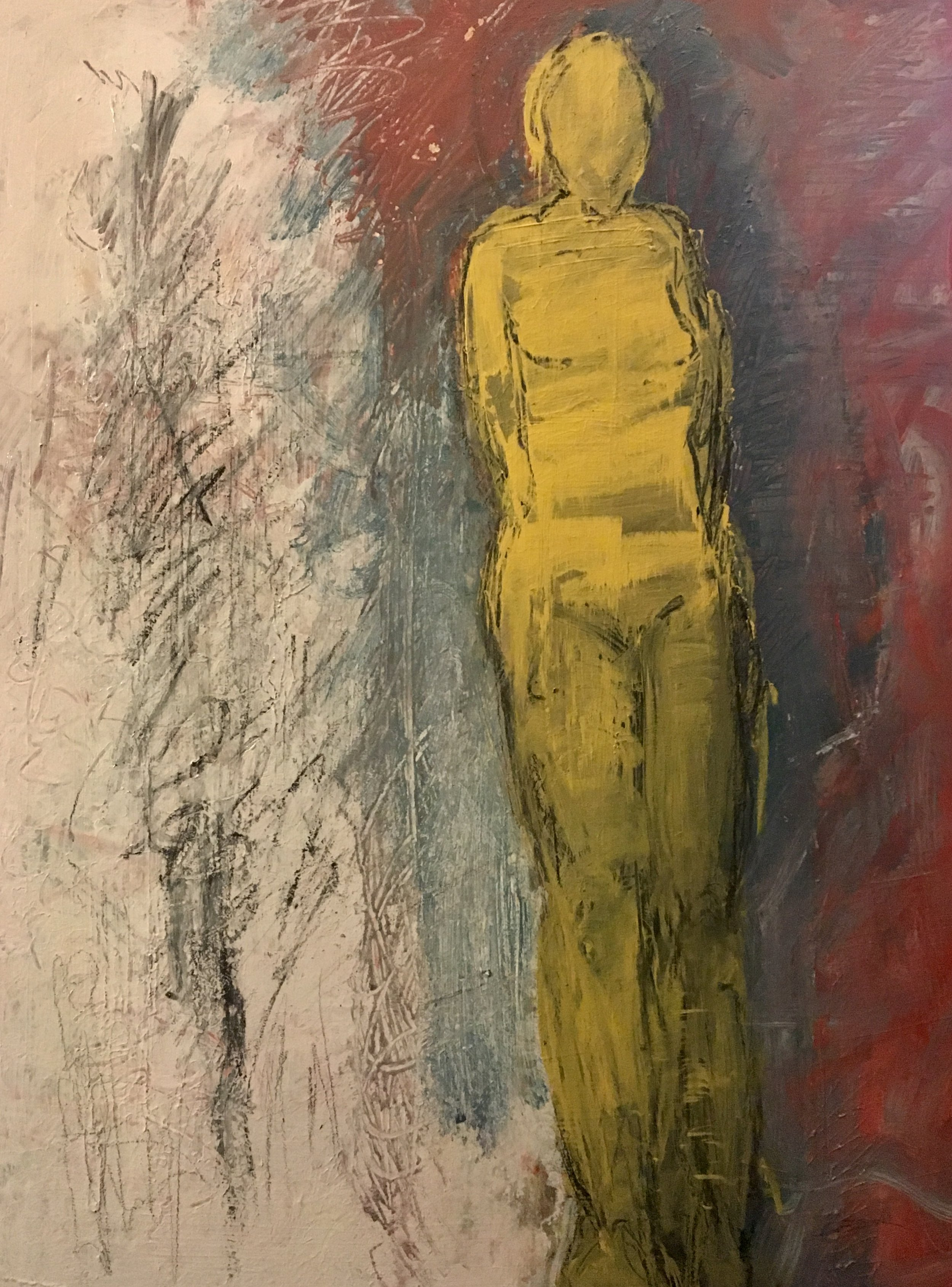 Standing Woman in Yellow_, 2019,24_x18_, Acrylics_Mixed Media on museum board, $1000