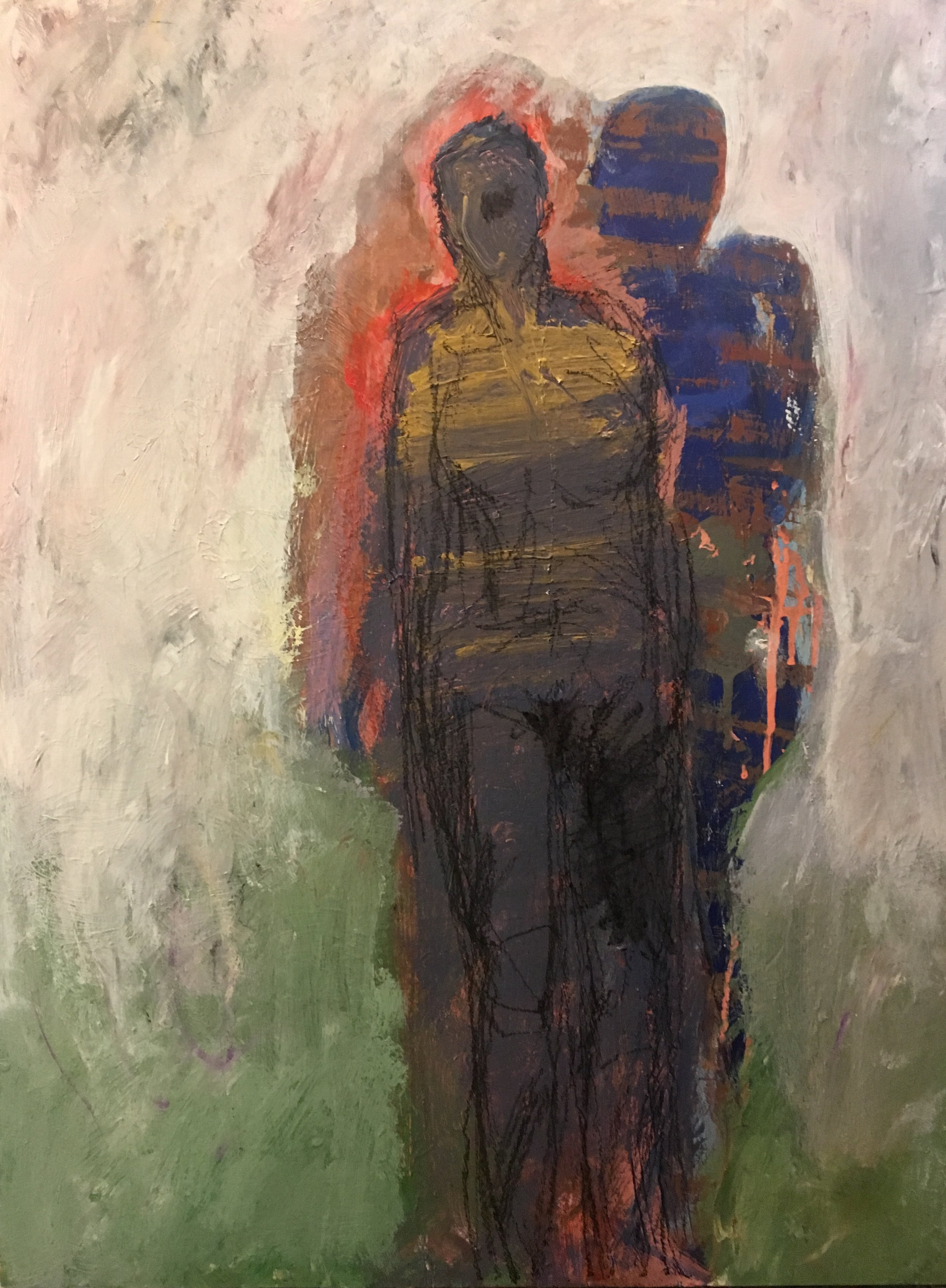Woman with Red Aurta and Blue Shadow_2019, 24_x18_, Acrylic_Mixed media on museum board. $1000