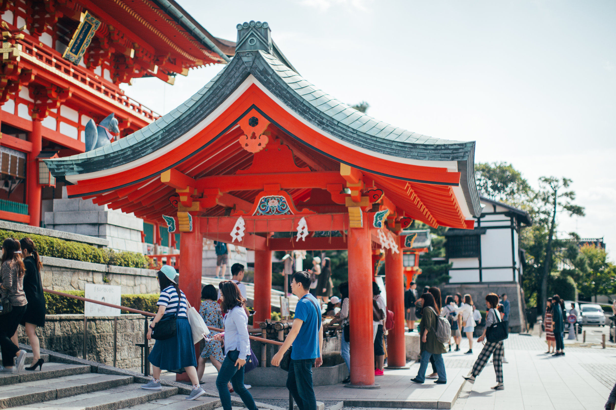 At the entrance of a very crowded shrine.