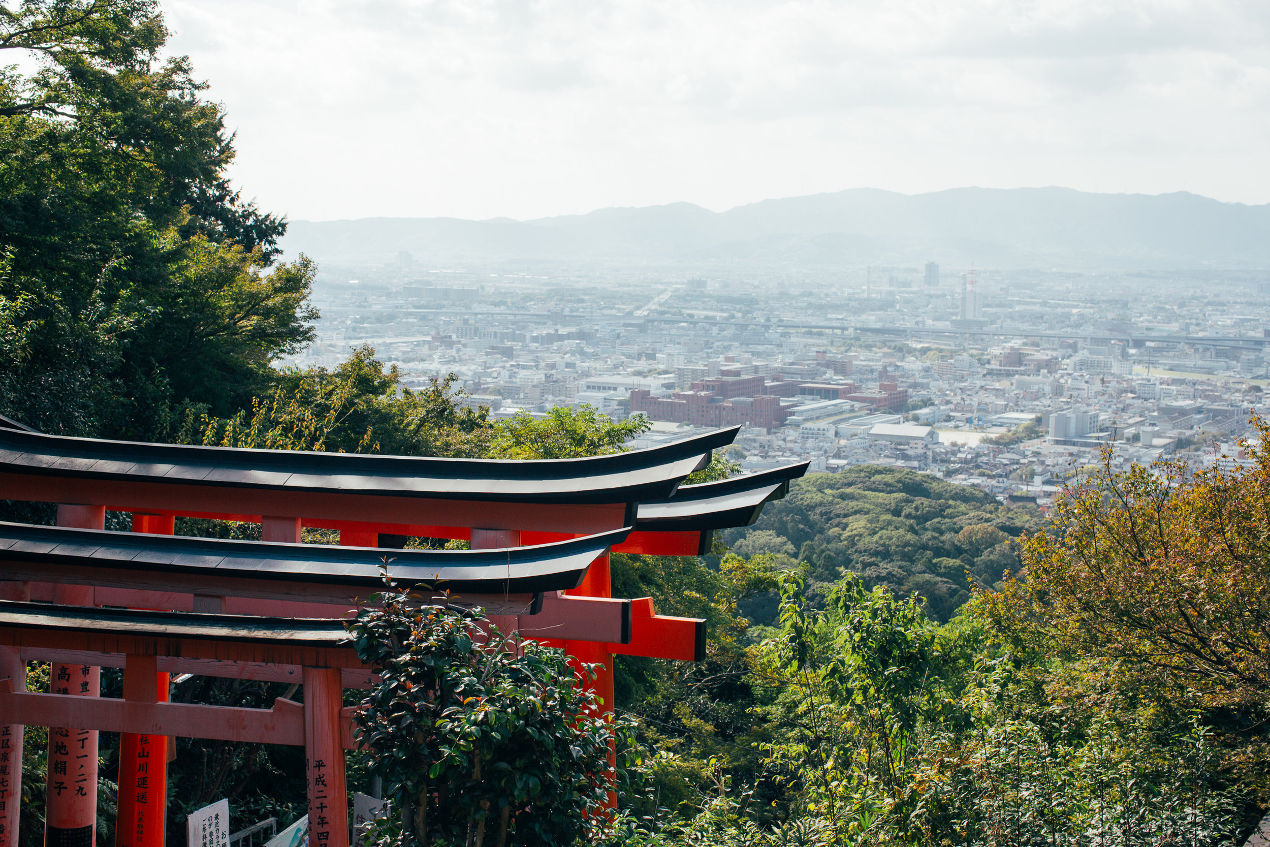 Halfway up and turning around to get a view of Kyoto. Can vaguely make out Kyoto Tower in the distance.