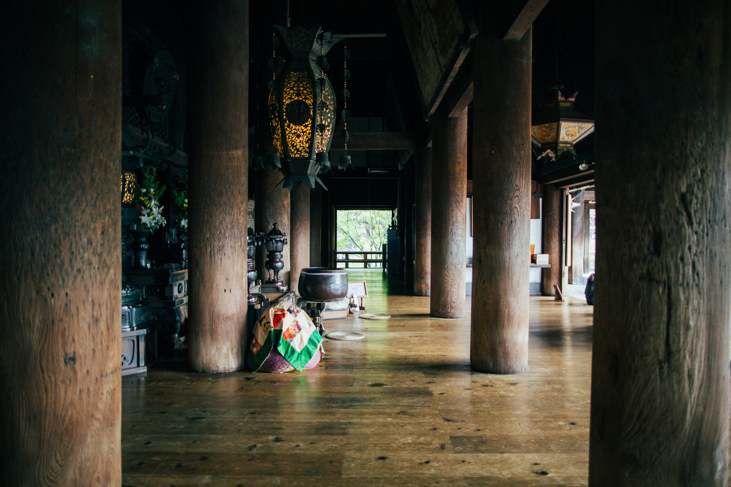 Inside the main building of Kiyomizu-dera. We got there early, but not early enough as I only had time to take this shot before the crowds started pouring in.