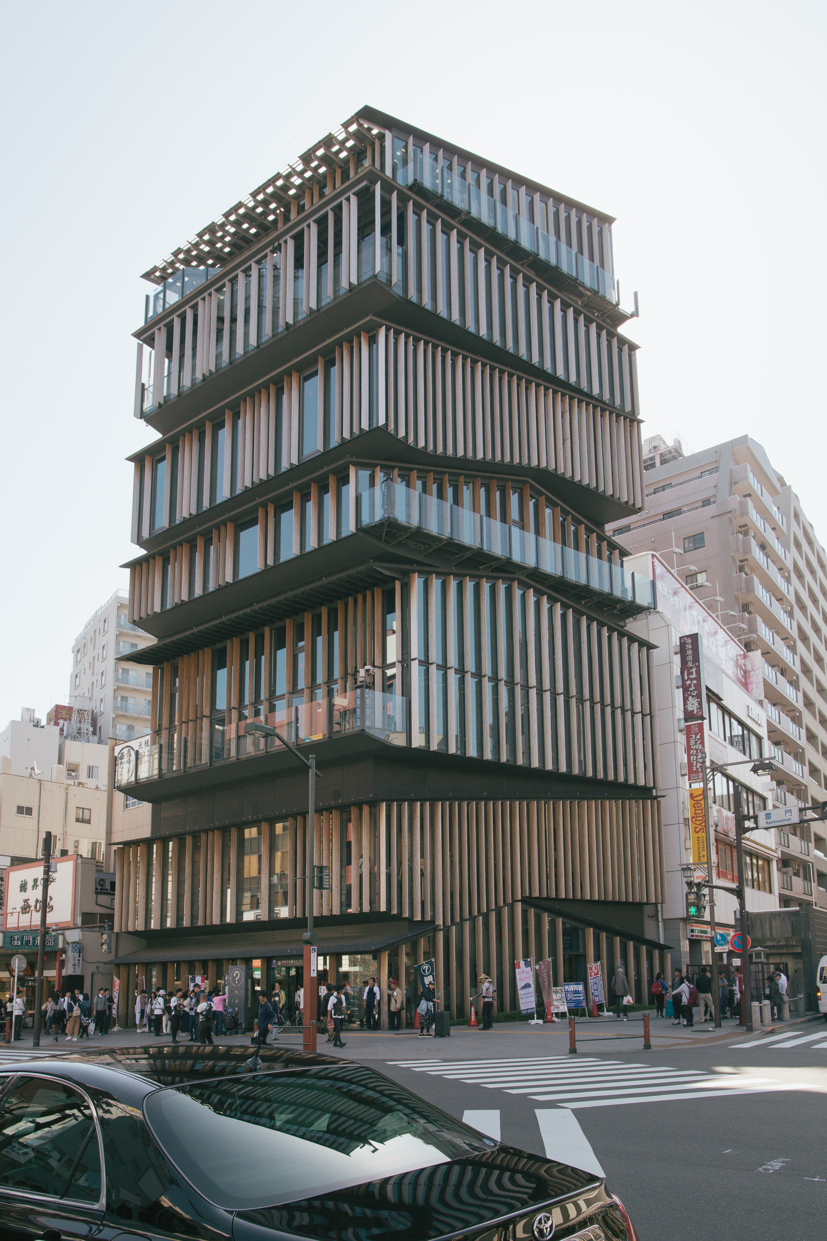 The Asakusa Culture & Tourism Center by Kengo Kuma and Associates. Signature wood-cladding for a building that seems to resemble houses stacked atop one another. The details on the inside of the building were quite interesting as well.