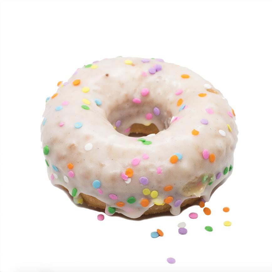 Vanilla Glazed  - brioche doughnut with vanilla bean icing and sprinkles