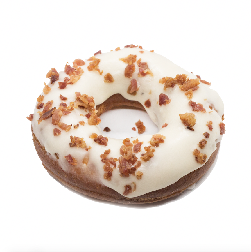 Maple Bacon  - brioche doughnut glazed with maple icing, topped with candied bacon crumbles