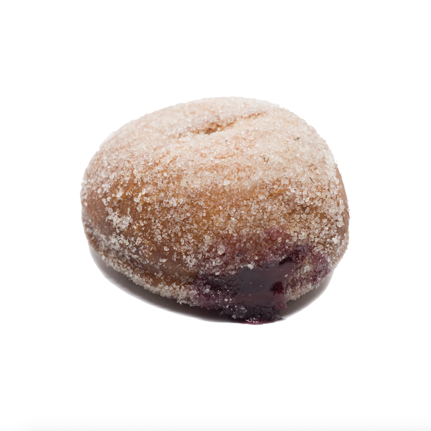 Black and Blue  - brioche doughnut filled with blackberry and blueberry jam and dusted with lavender sugar