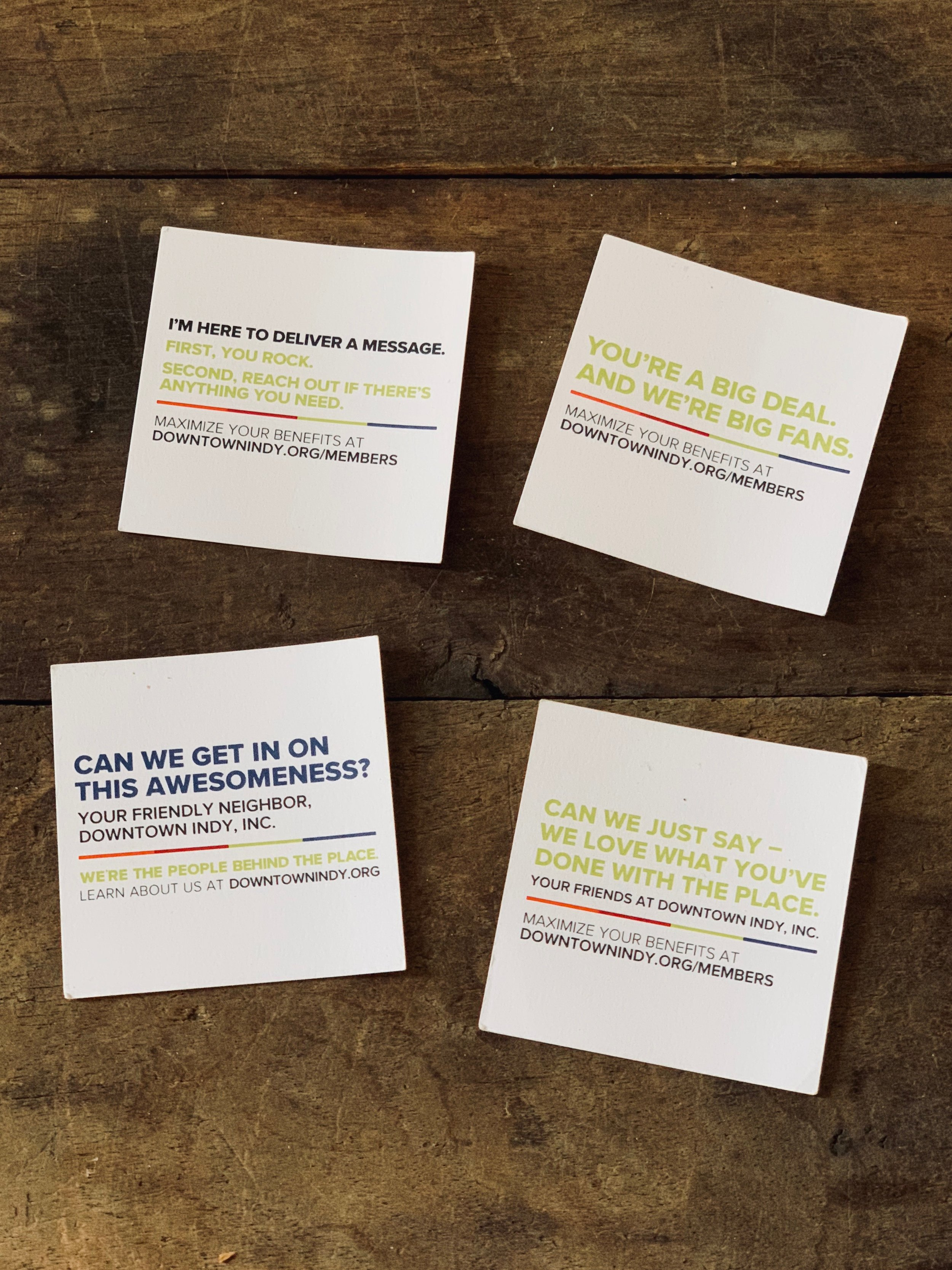 Downtown Indy Inc. Leave-behind Cards