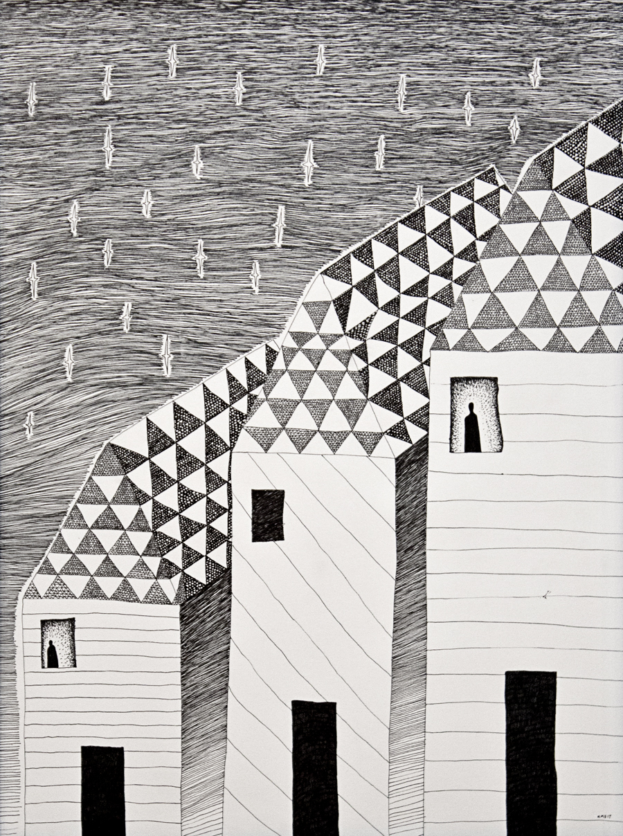 Neighbors , ink on paper, 20x26.5, 2017