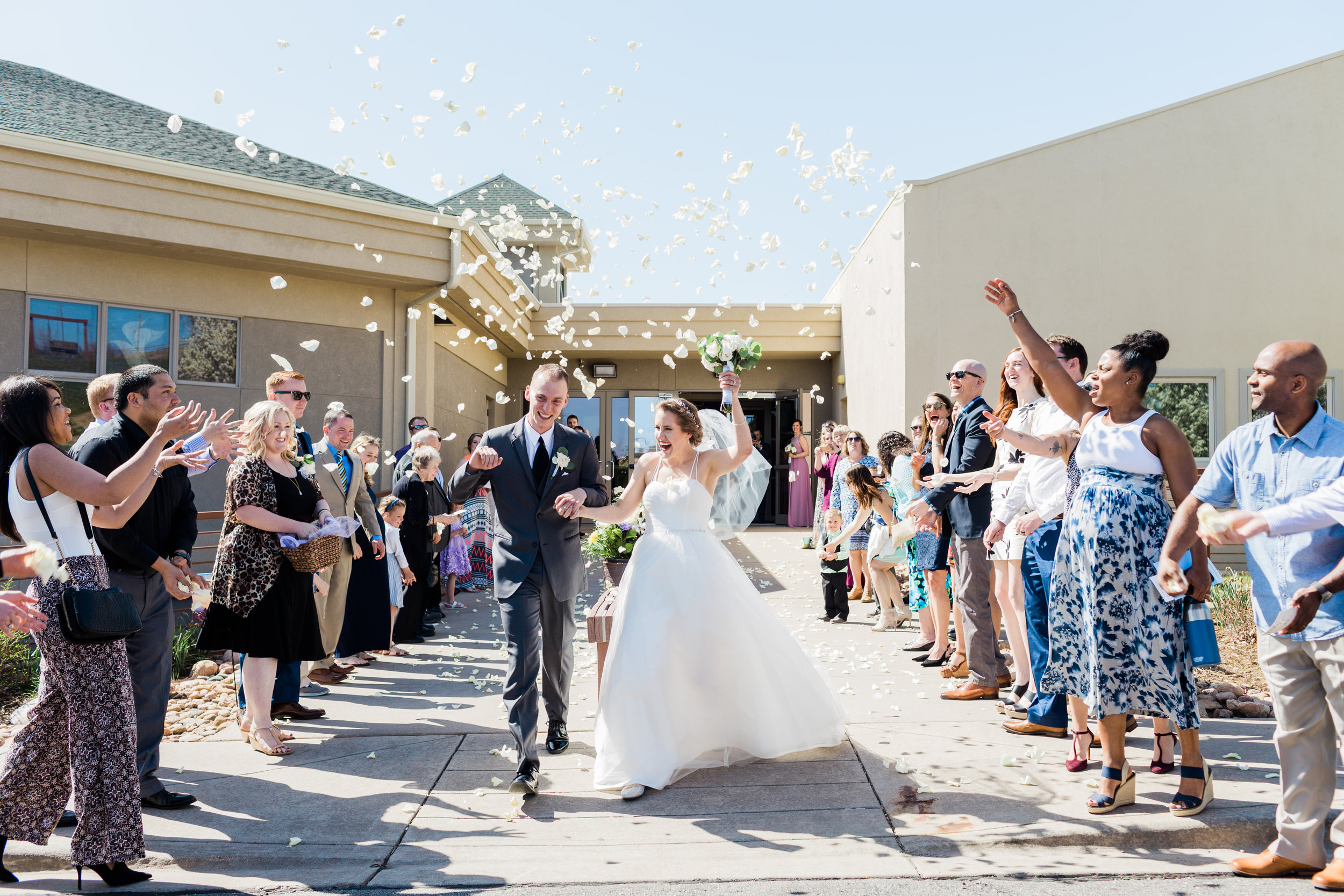 denver wedding, bride and groom, rose petals