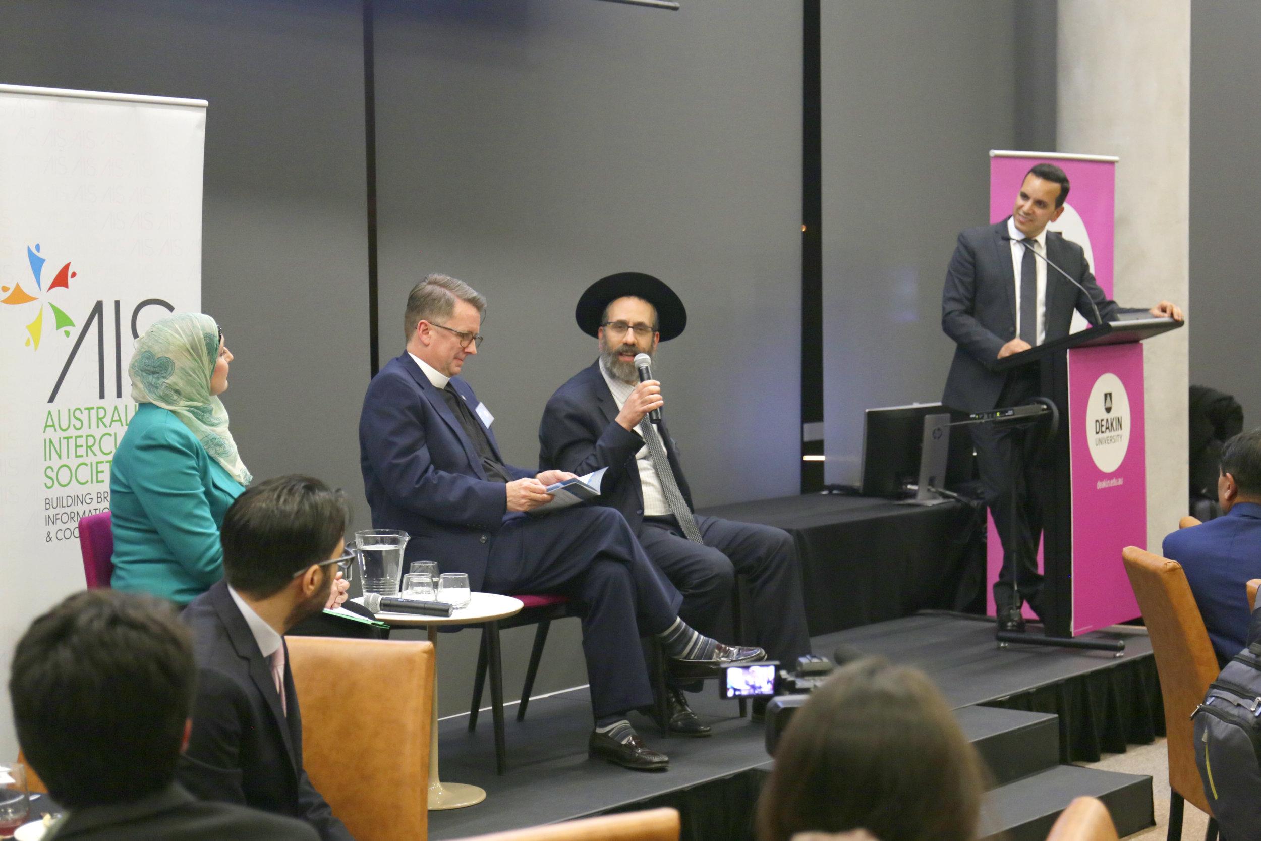 Mrs Sherene Hassan, The Reverend Dr Robert Derrenbacker, Rabbi Zalman Kastel, Prof Fethi Mansouri