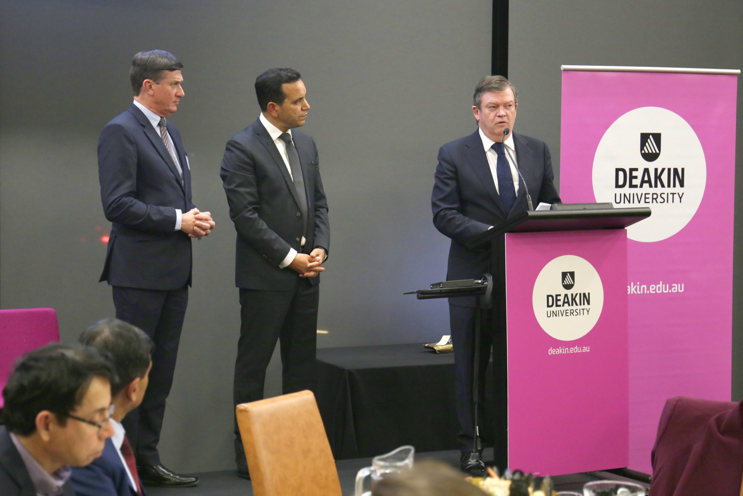 Mr Neil Angus MP, Professor Fethi Mansouri, Mr Frank McGuire MP