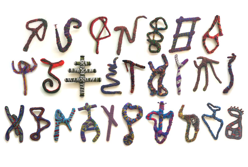 Codex Lector (2002). Suite of 26. Fabric & found objects on wire armatures.