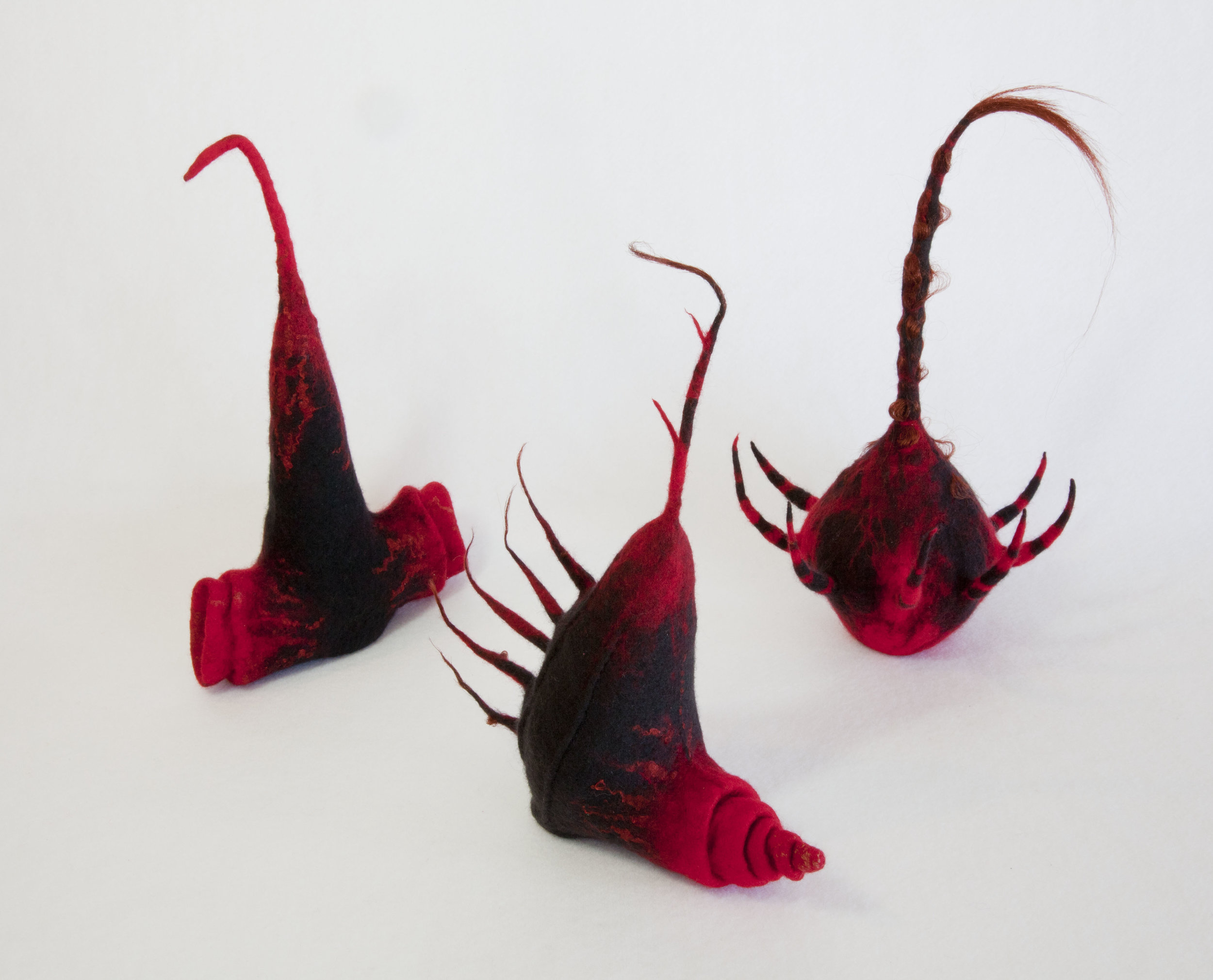 Next of Kin I, III & II (2011). Felted merino wool & silk.