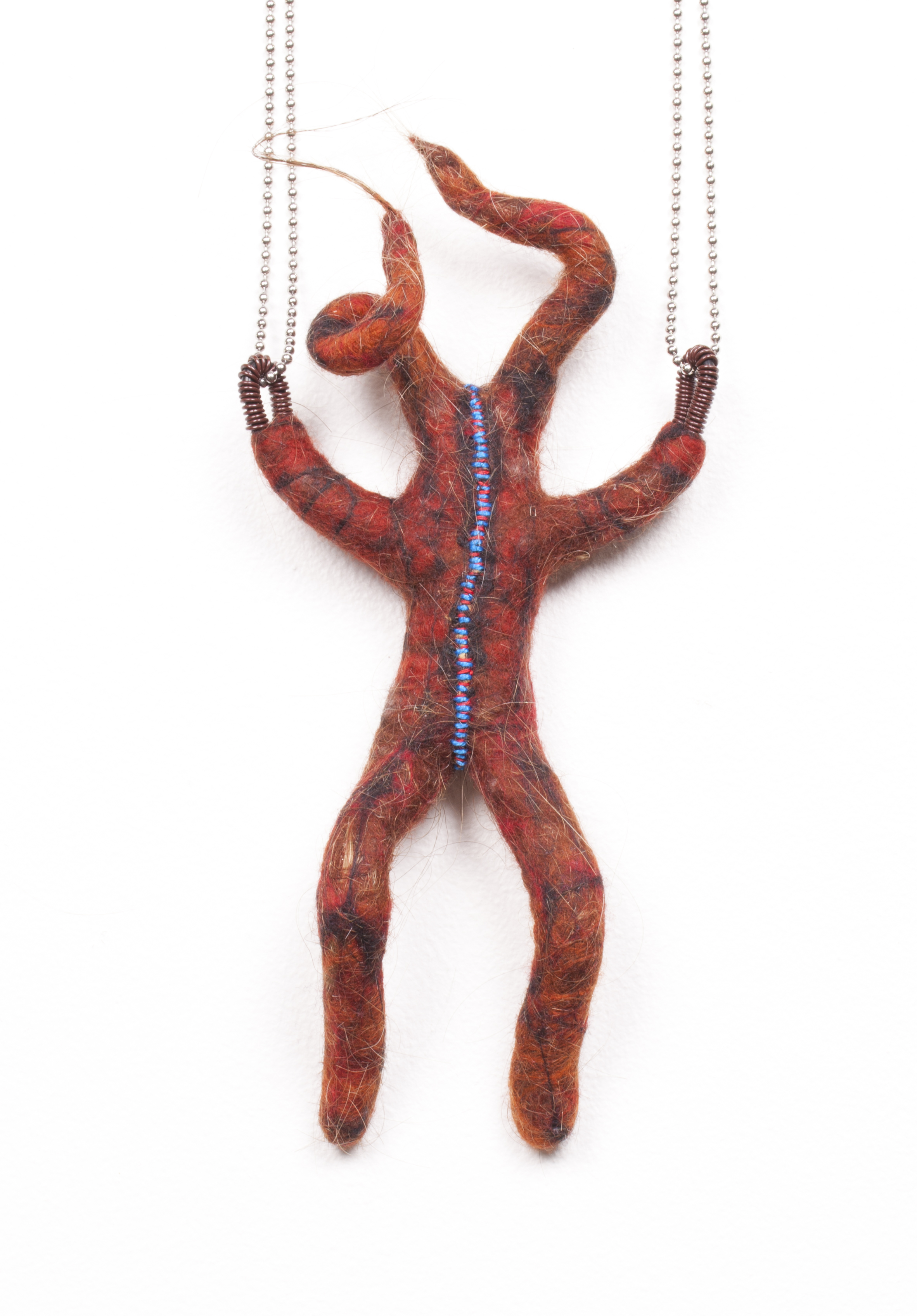 Hoi Polloi (2013). Human hair, wool & thread felted on wire armature.