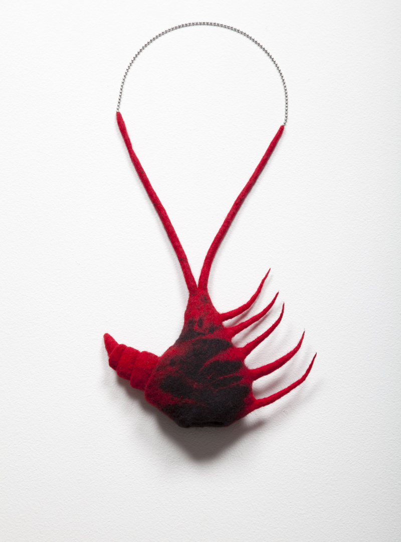 Mescalator (2012). Handfelted merino wool and stainless steel chain