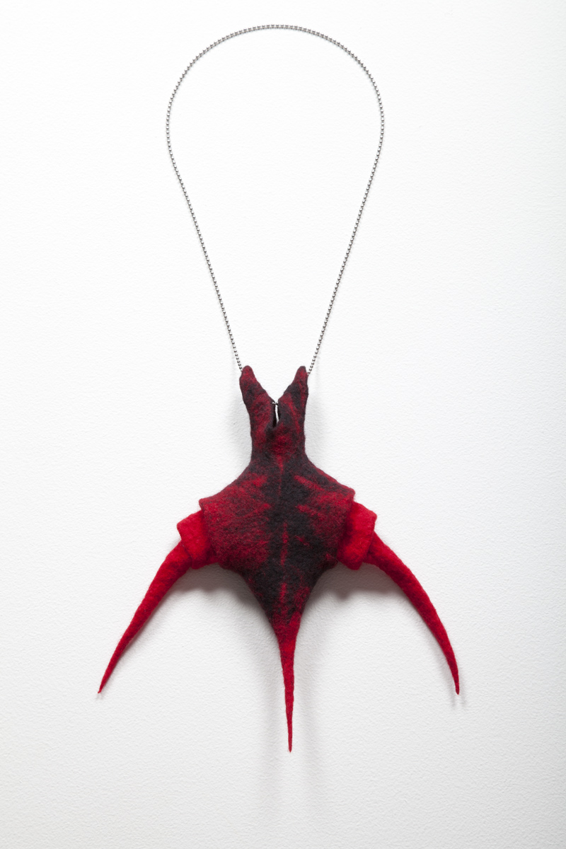 Stipulator (2012). Handfelted merino wool and stainless steel chain