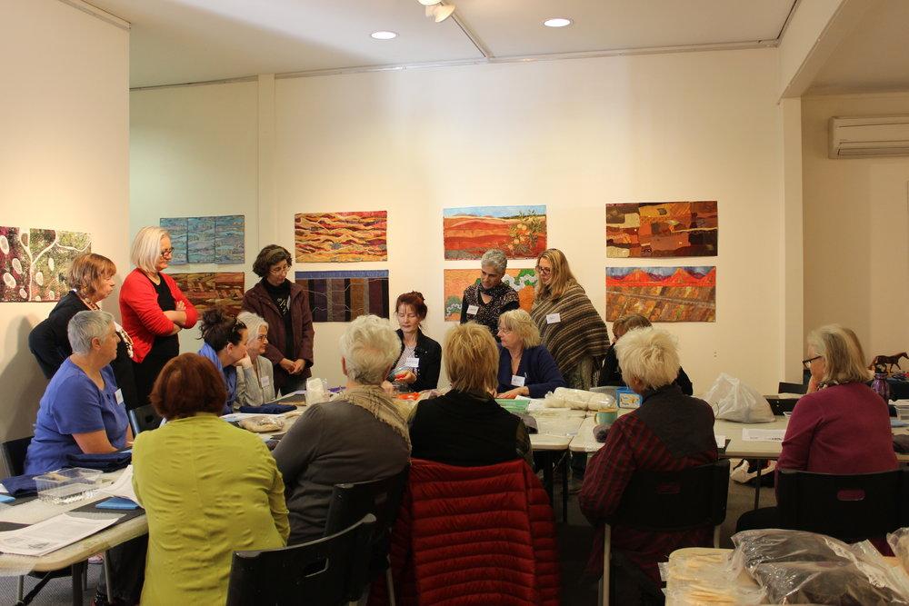 Participants at a felting workshop